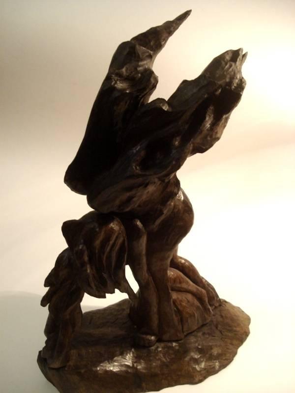 Падение ангела, морёный дуб, 33 см