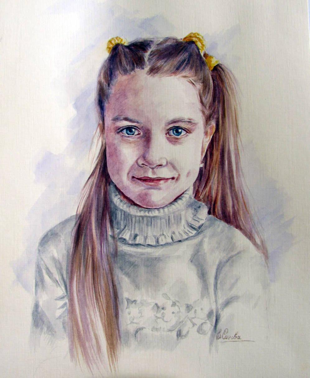 Акварель, портрет по фото