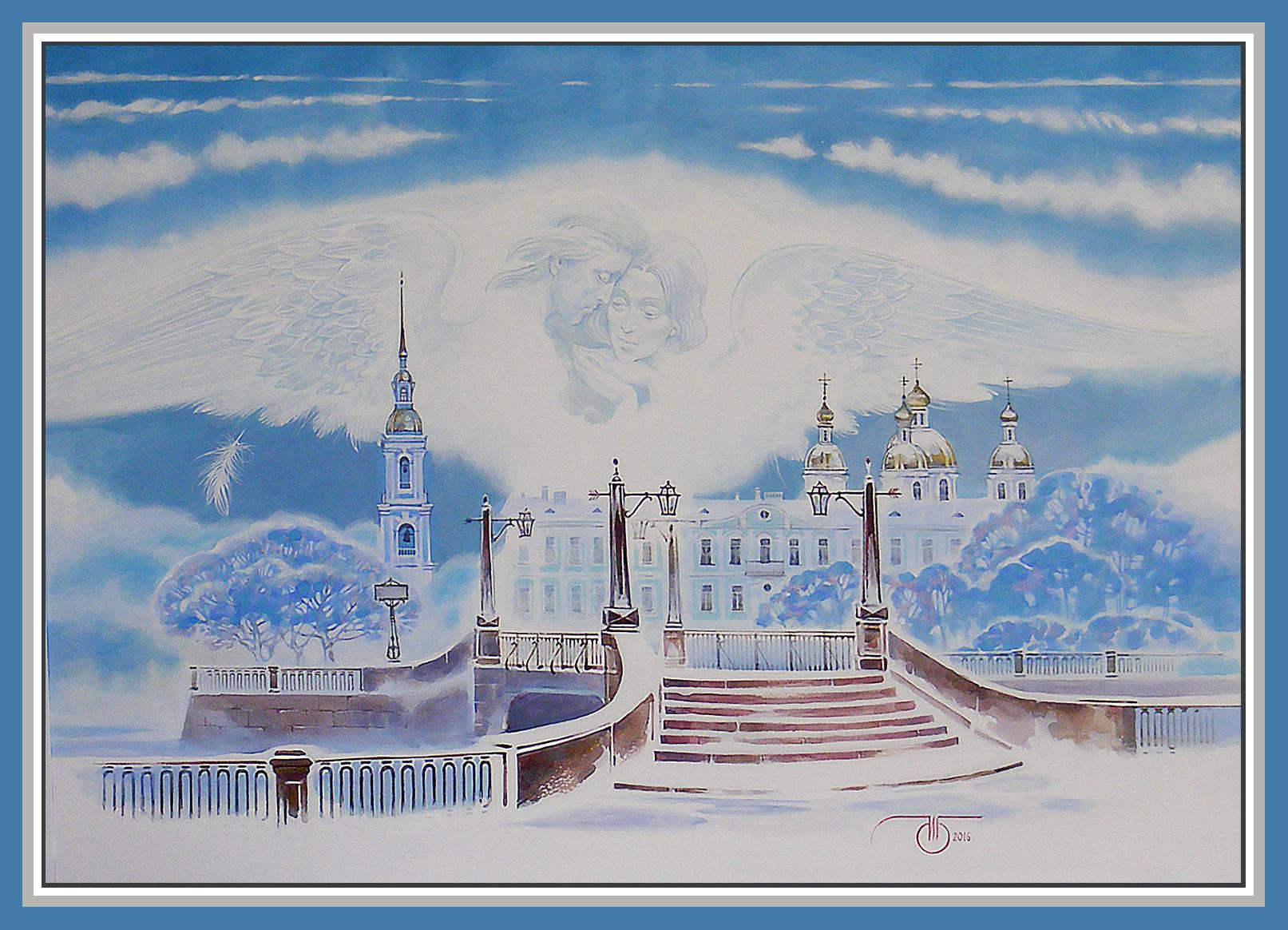"""Зимний Петербург""  смешанная техника"