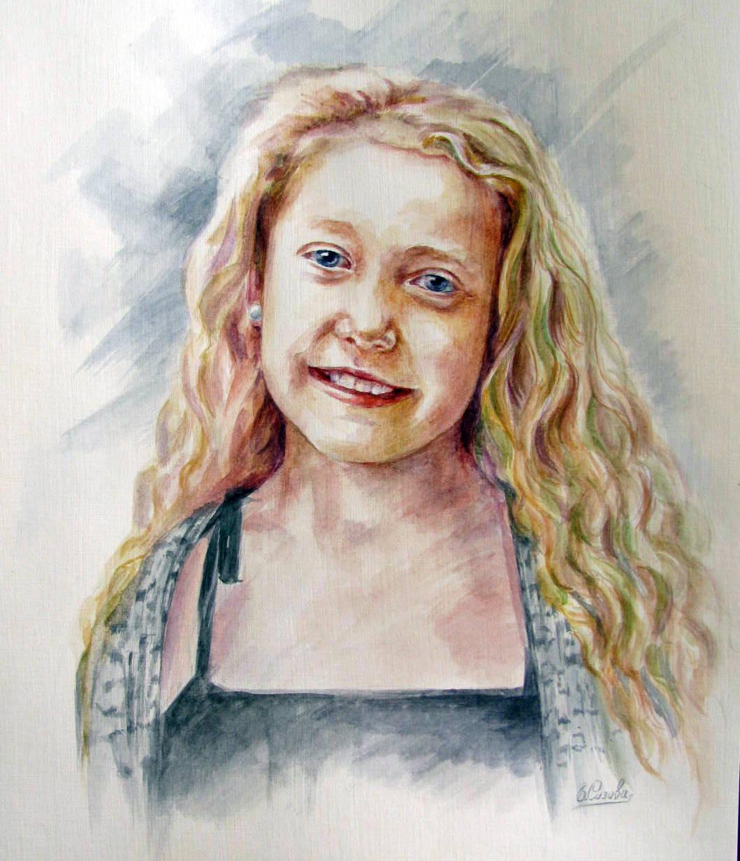 Портрет по фото акварелью