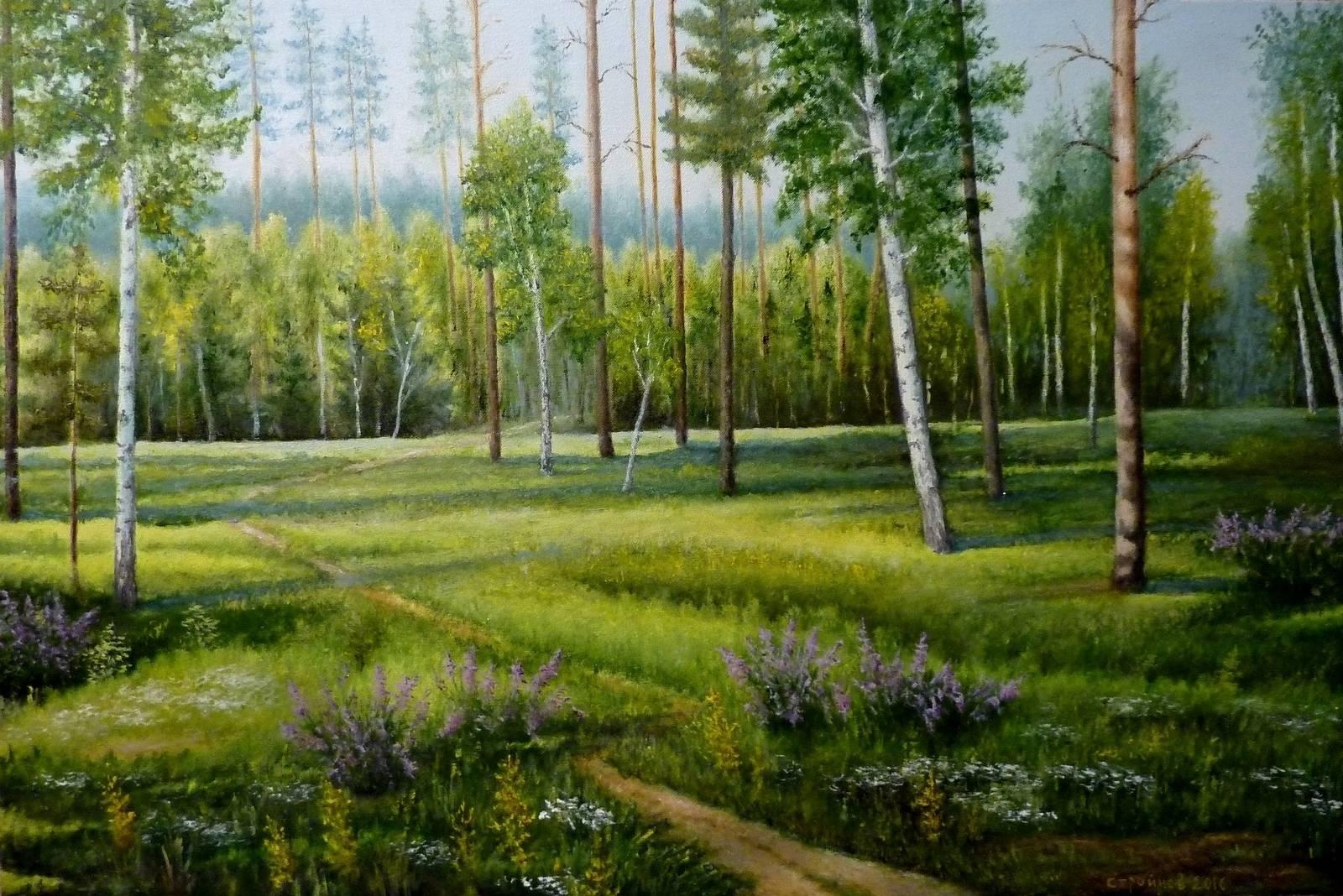 """ Утро в лесу."" холст, масло 60х90 см."