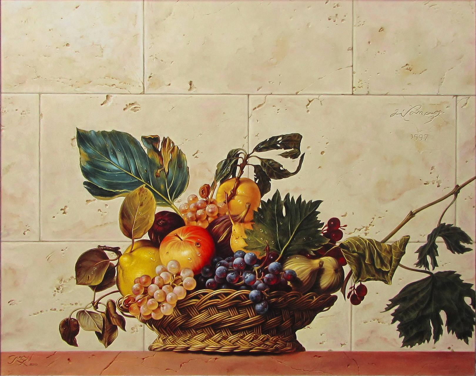 Корзина с фруктами. Караваджо. Вольная копия. Кожа, масло, 55х70.