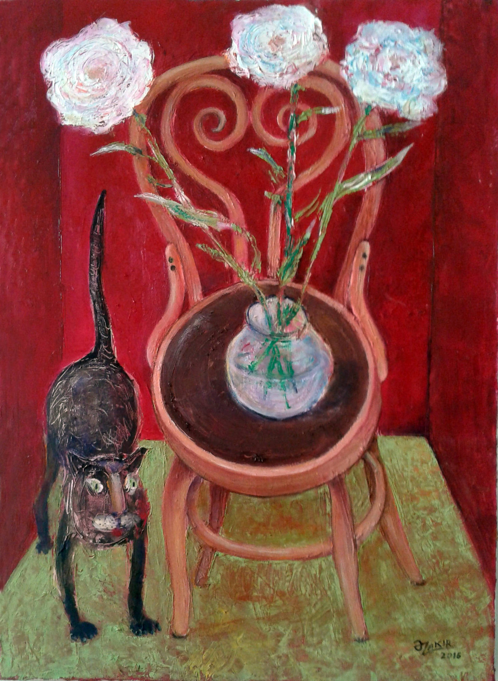 .Cat And Flowers2016 year Oil Paintings on Canvas70x50cm2500$