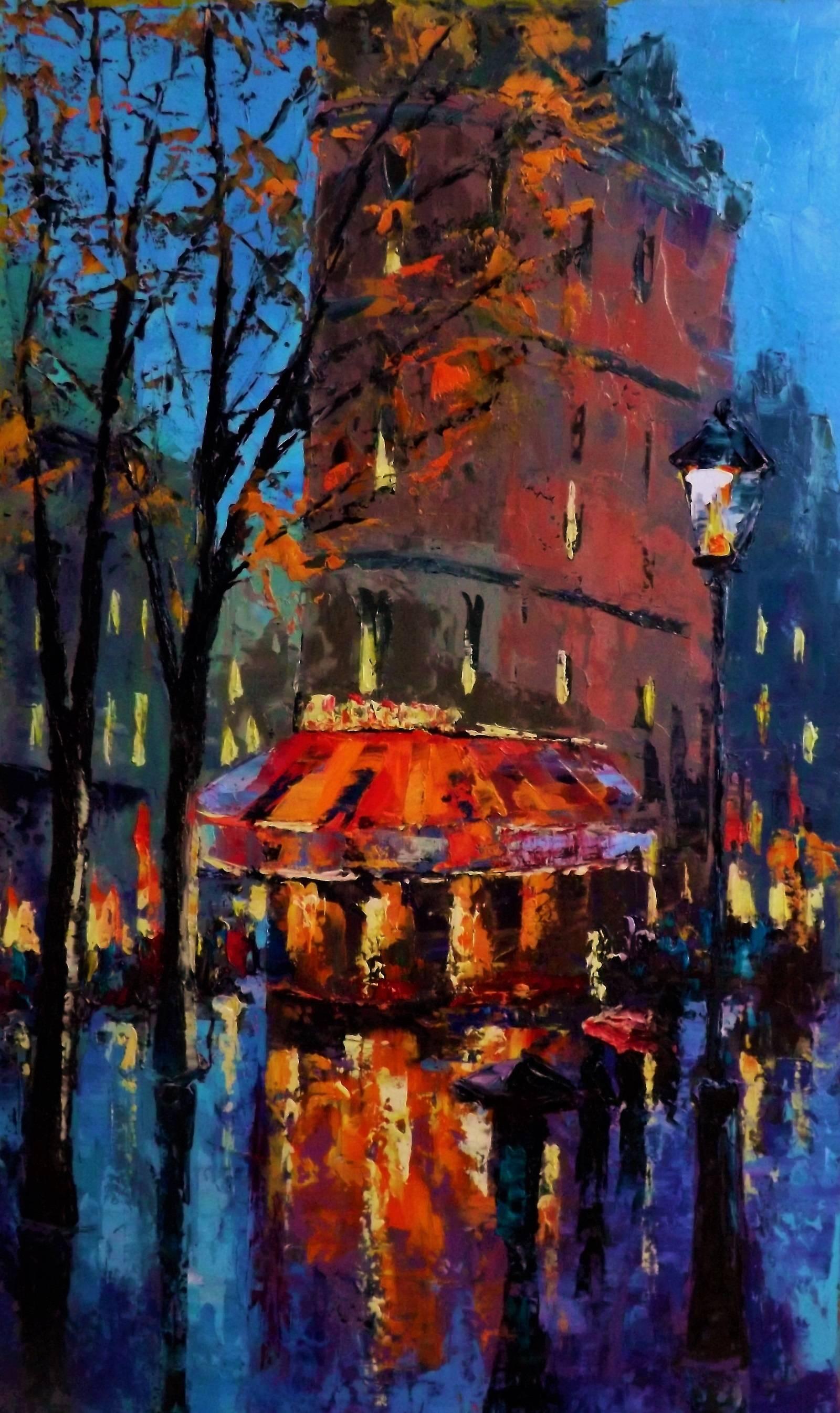 Парижская осень.картон.масло.мастихин.65х30.2016г.