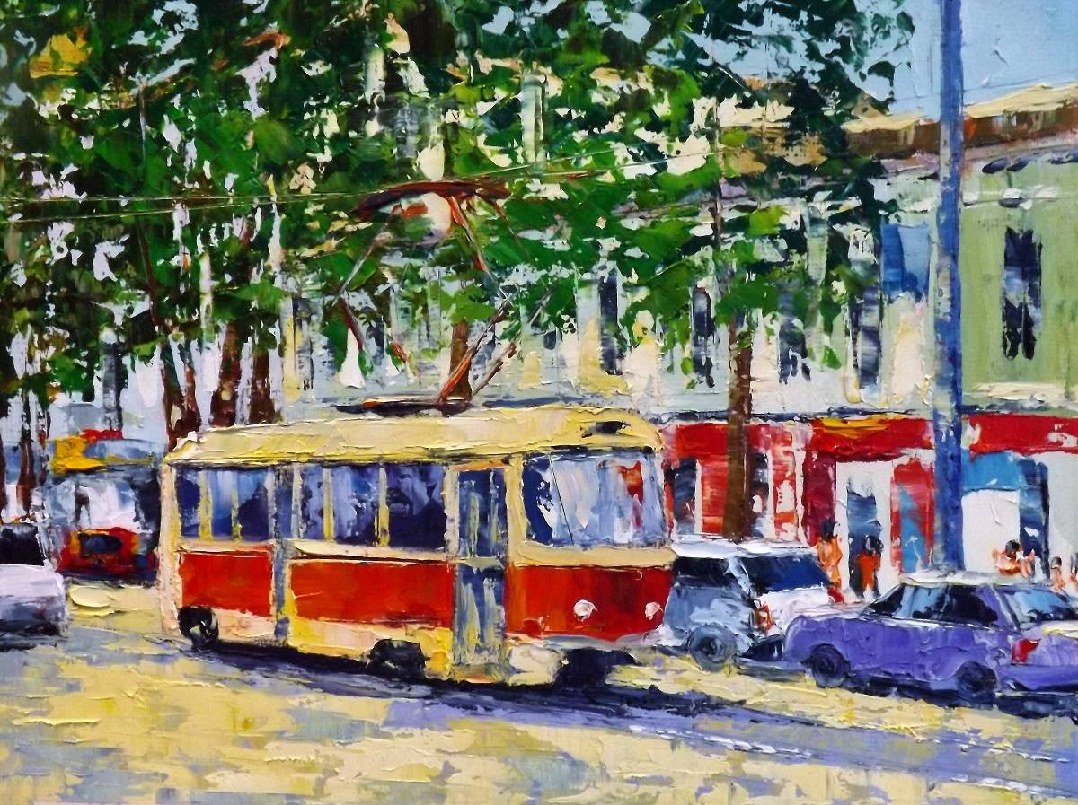 Летний трамвай.картон.масло.мастихин.33х45.2016г.