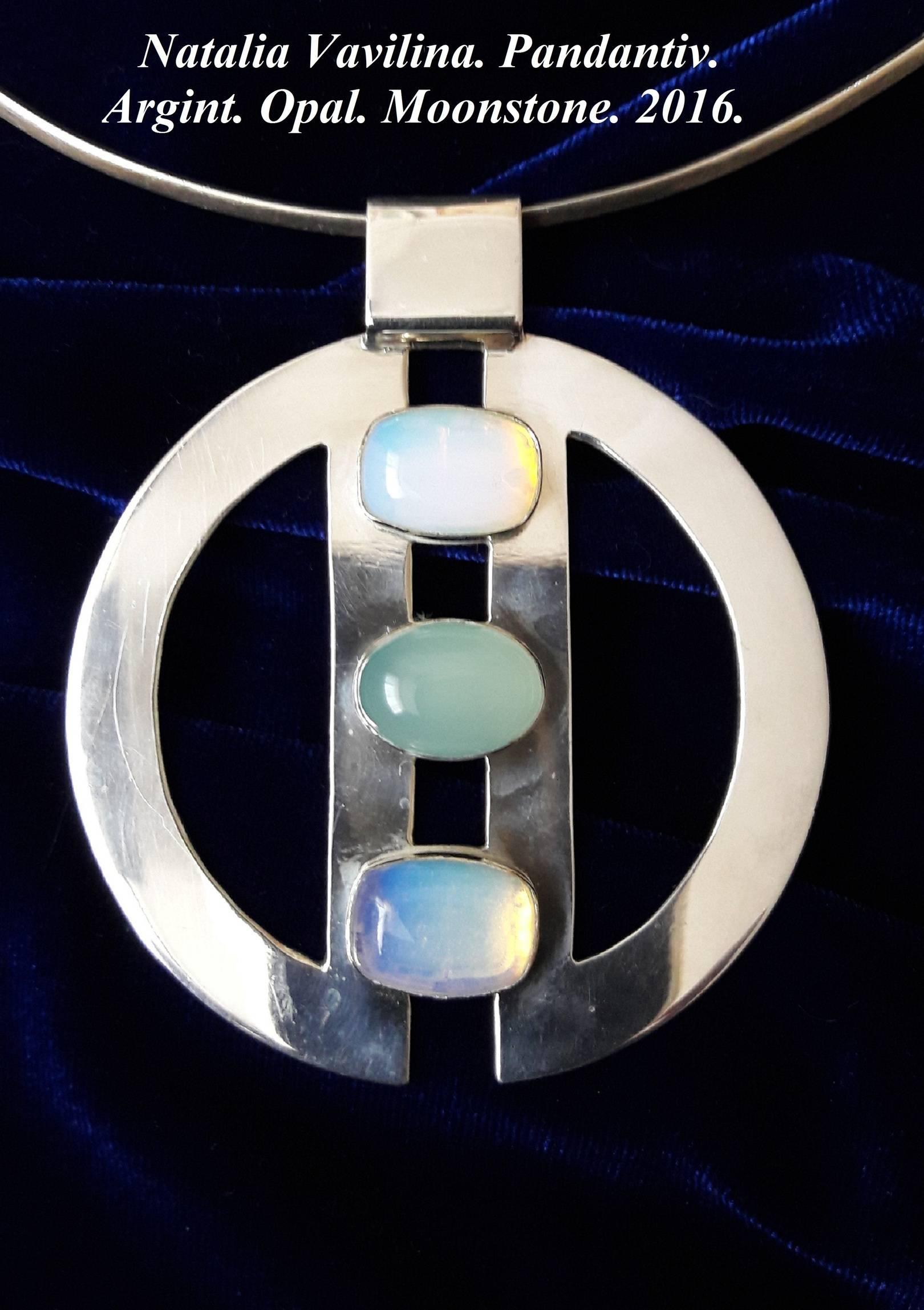 Подвеска. Серебро, лунный камень, опал.