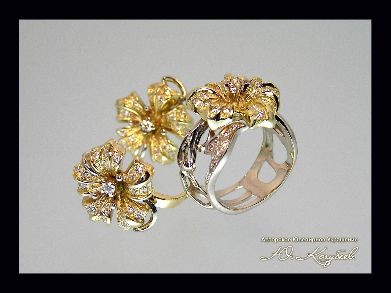 """Комплект """"Бриллиантовая роса"""". Желтое и белое золото, бриллианты, авторская техника."""