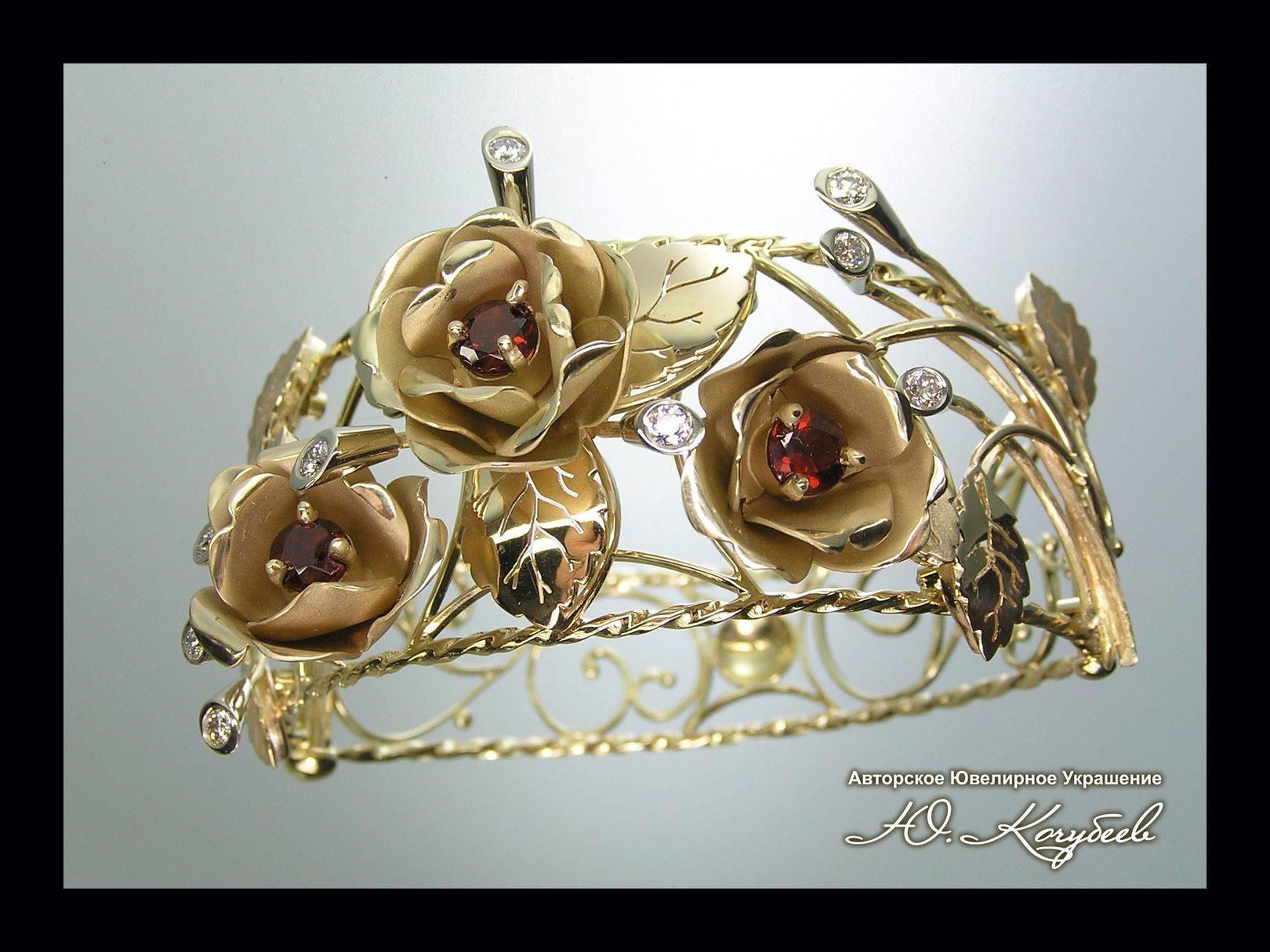 """Браслет """"Рубиновые розы"""". Желтое золото, рубины, бриллианты, авторская техника."""