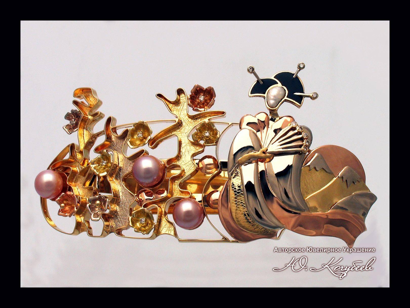 """Заколка """"Сакура на закате"""". Золото трех видов, жемчуг двух видом, бриллианты, авторская техника."""