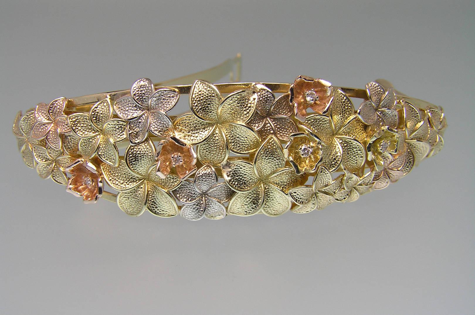 "Заколка для волос ""Клумба"". Золото трех видов, бриллианты, , авторская техника."