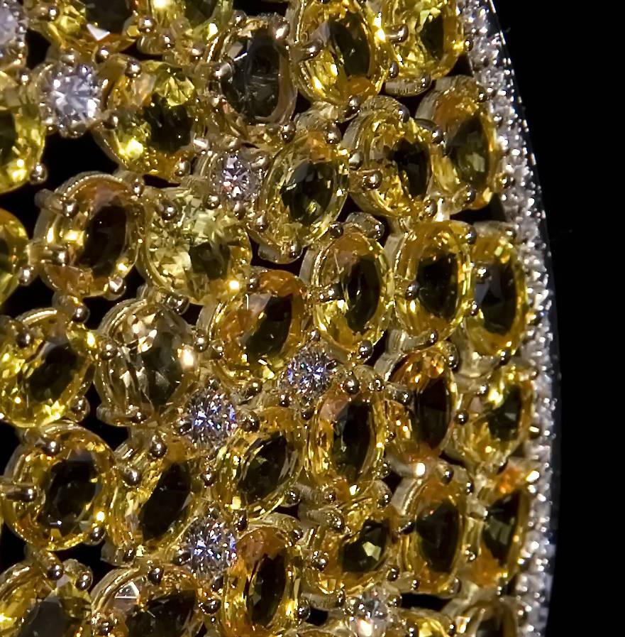 """Серьги """"Золото инков"""". Золото 750*, цитрины, бриллианты, авторская техника."""