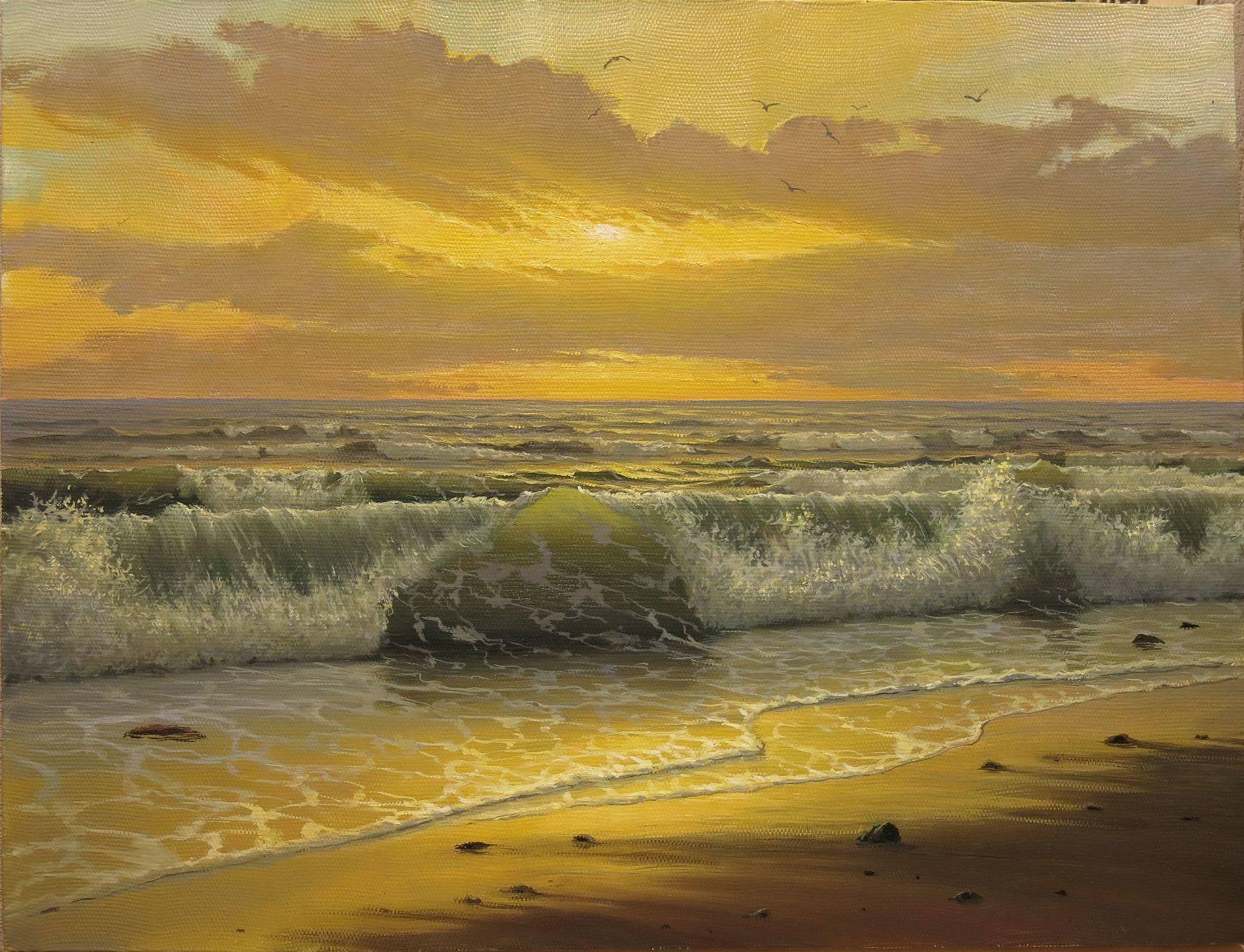 Вечернее море. Волны.