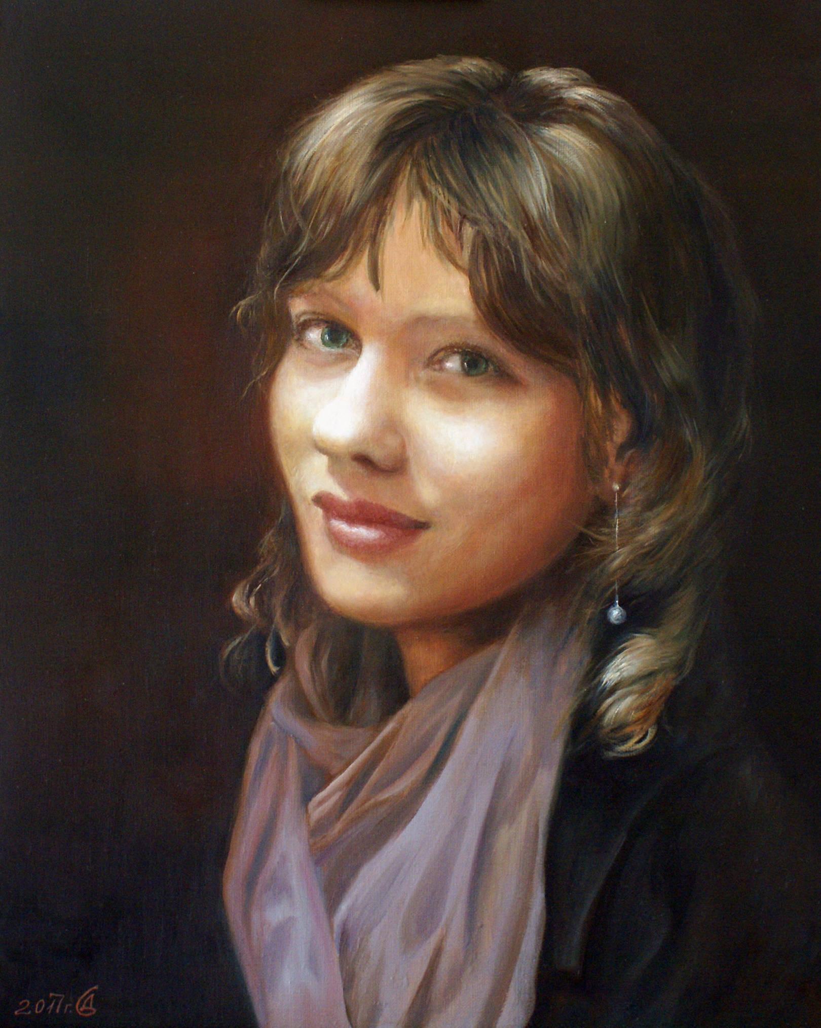 Портрет дочери - холст/масло, 50х40, 2017