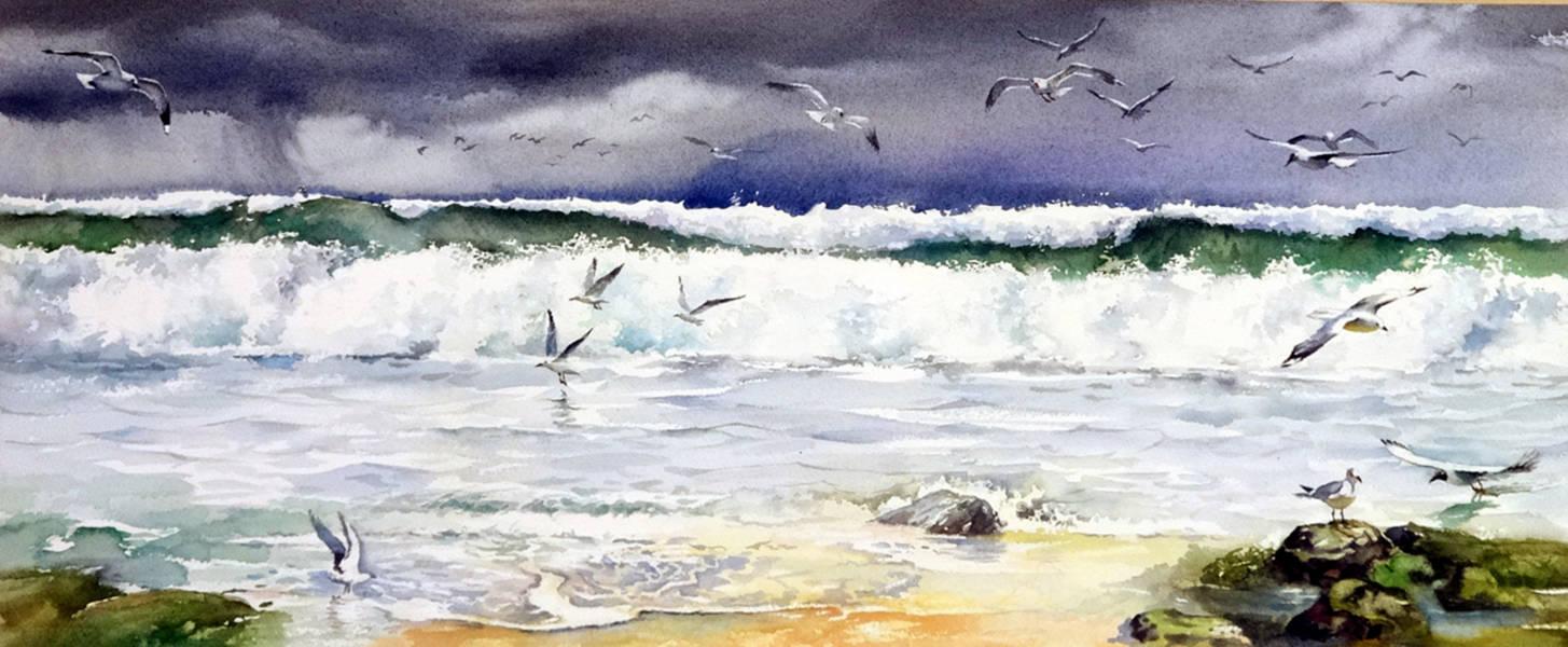 ,,Балтийское море,,акв.45*80 см.Международная выставка морского пейзажа,,Марина,,Юрмала,Латвия.