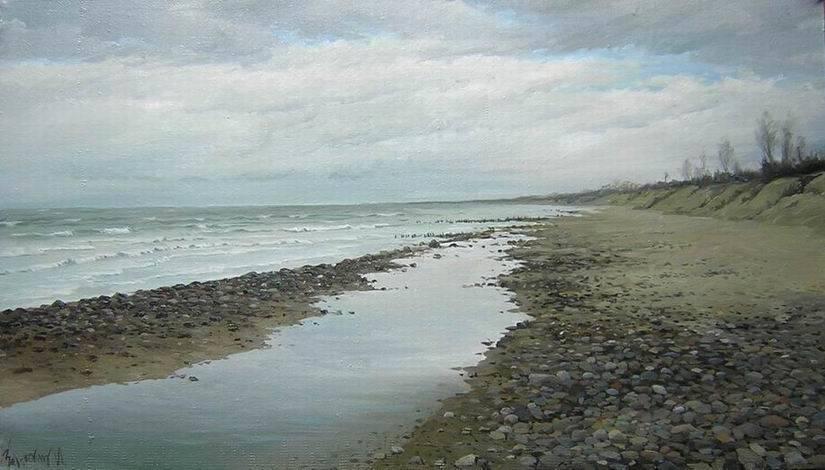 Пляж. осень