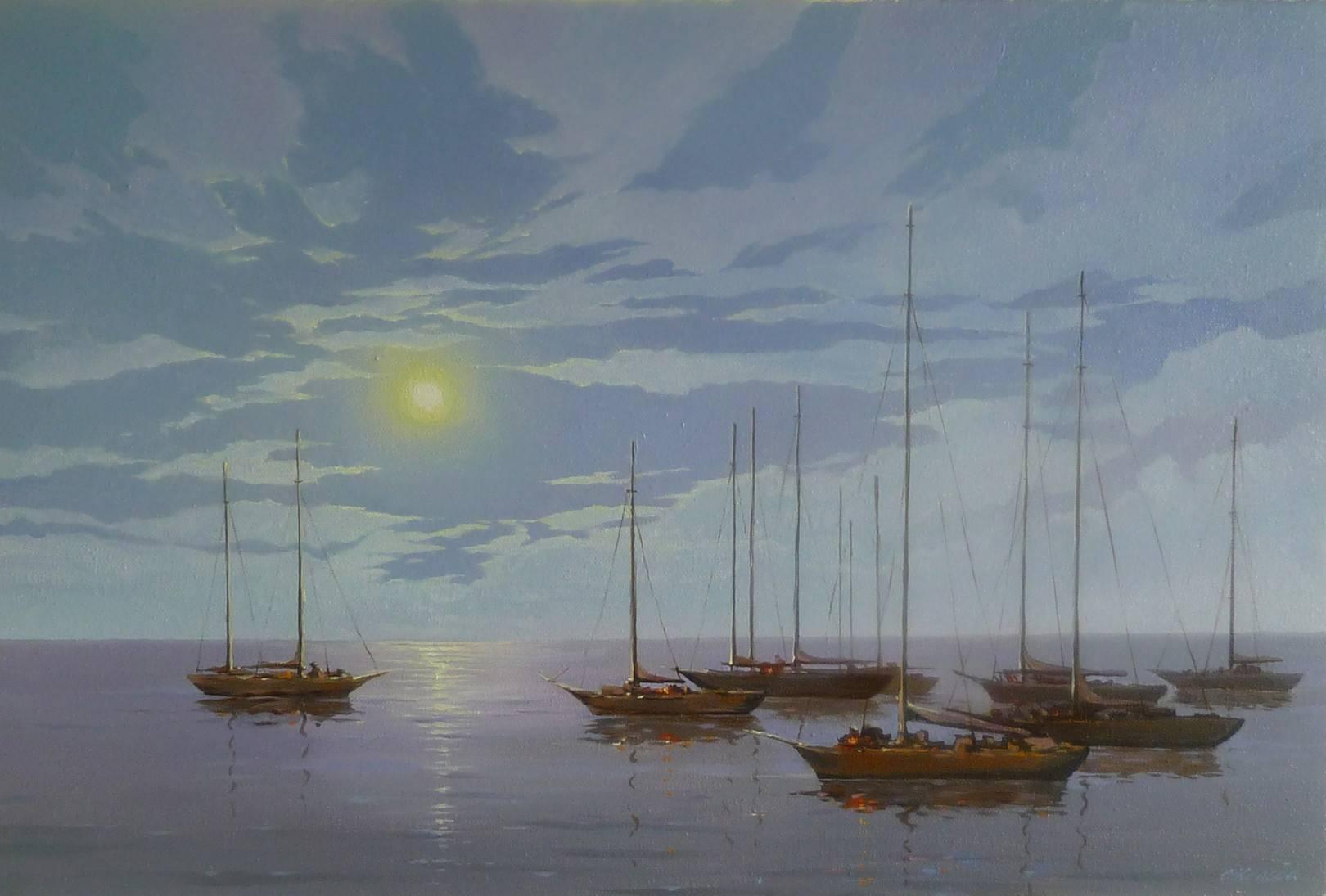 """""""Ночь, море. яхты"""" 40х60 см, холст. масло"""