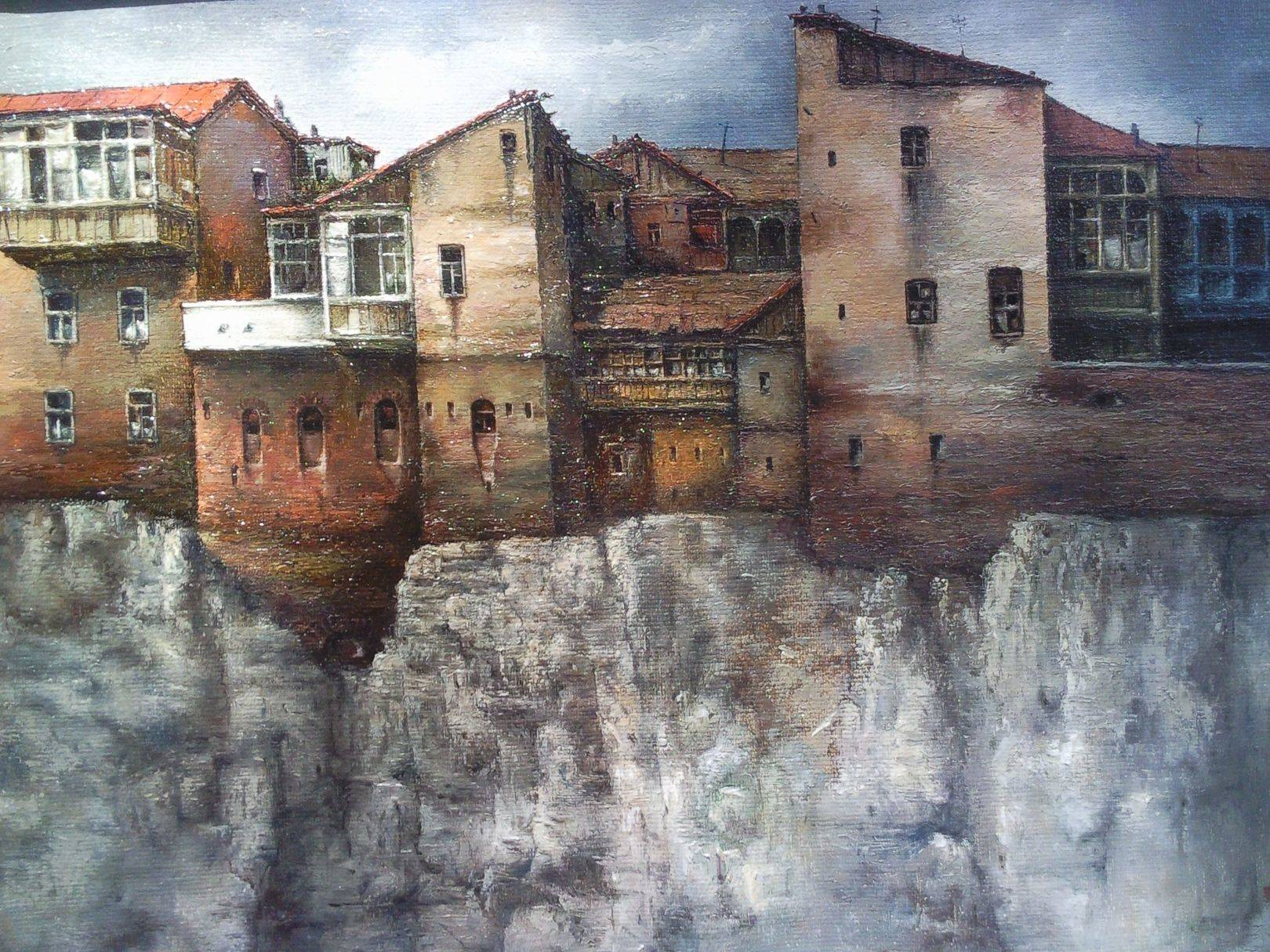 «Дома на скале»           холст, масло