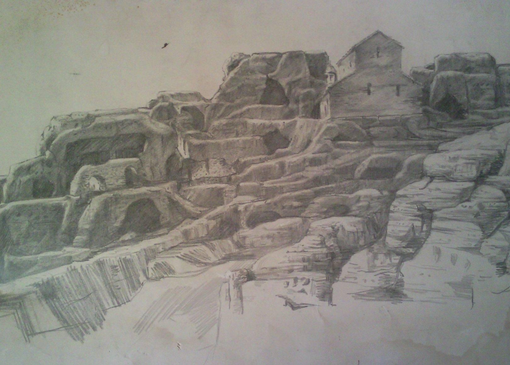 «Уплисцихе      бумага, карандаш «Uplistsikhe»    paper, pencil           42x62, 1983