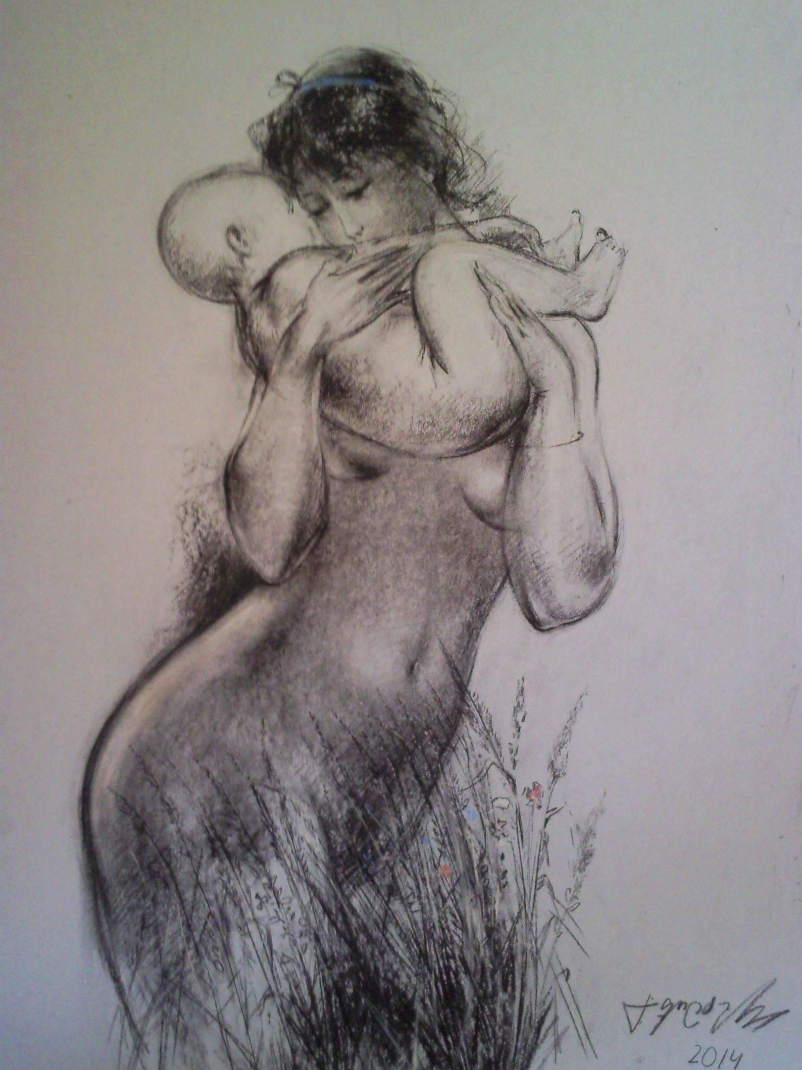«Мать и дитя»          бумага, пастель «Mother and child»    paper, pastel        70x50, 2014
