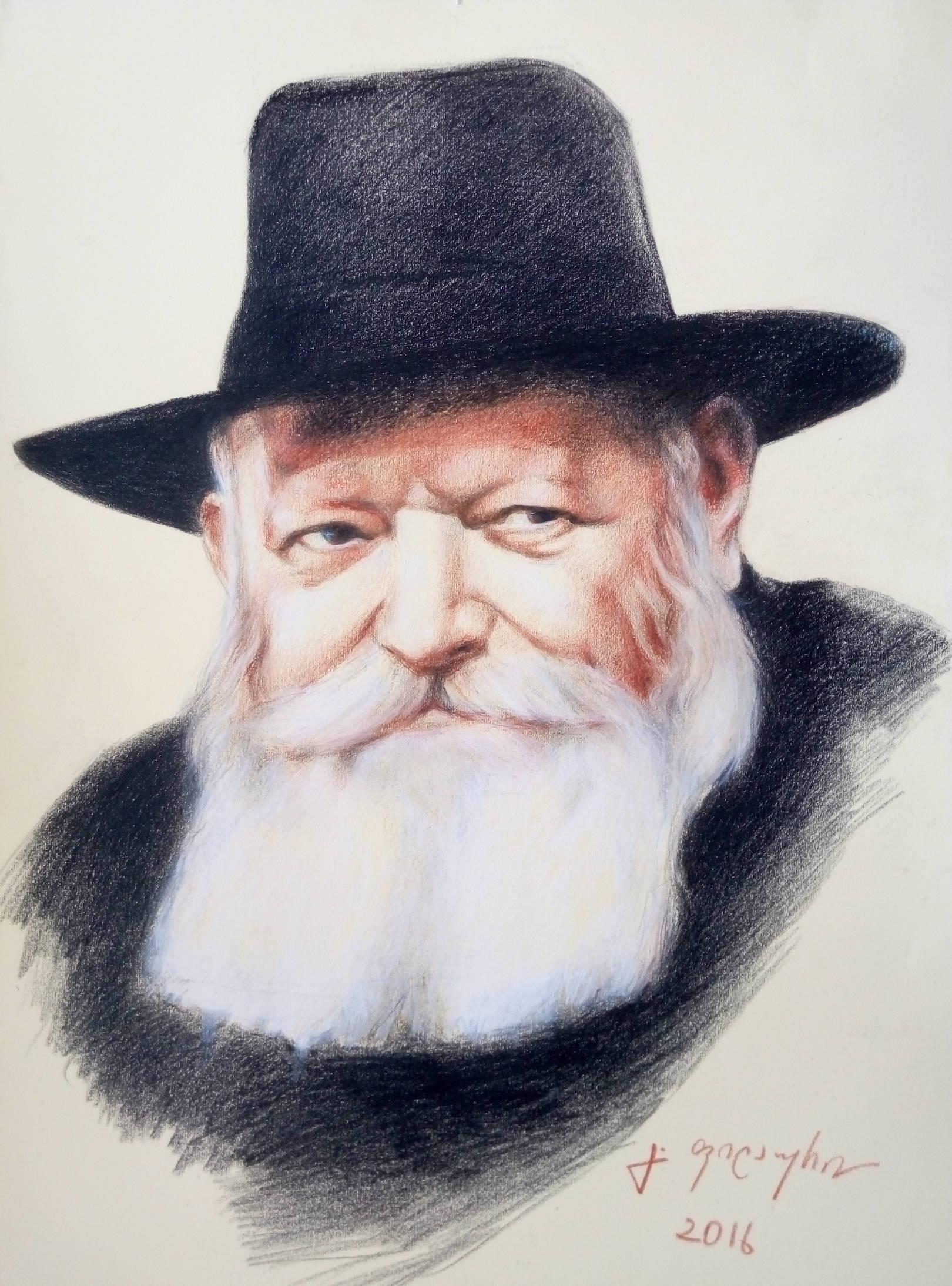 «Менахем-Мендл Шнеерсон, Любавичский ребе»                           бумага, пастель «Portrait of Menachem Mendel Schneerson, Lubavitcher Rebbe»     paper, pastel 50x37, 2016