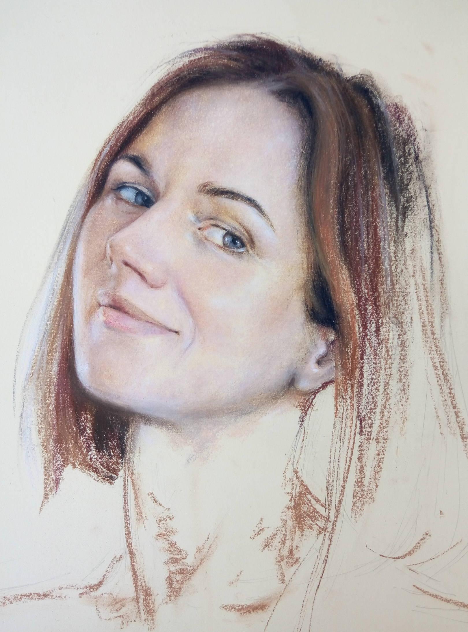 «Портрет»      бумага, пастель «Portrait»        paper, pastel  50x37, 2016