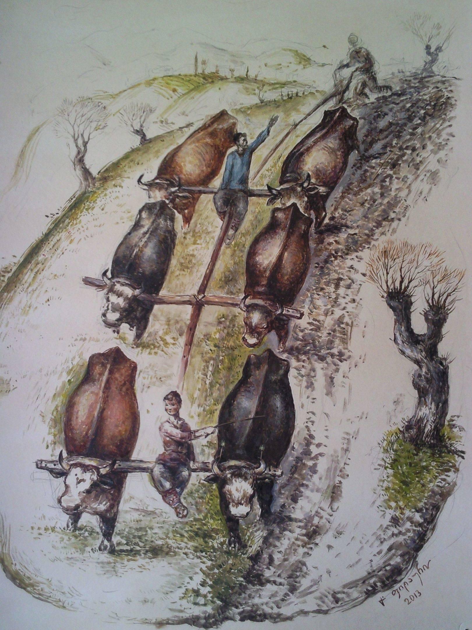 «Пахота»          бумага, акварель, гуашь «Plowed land»  paper, aquarelle, gouache 50x40, 2013