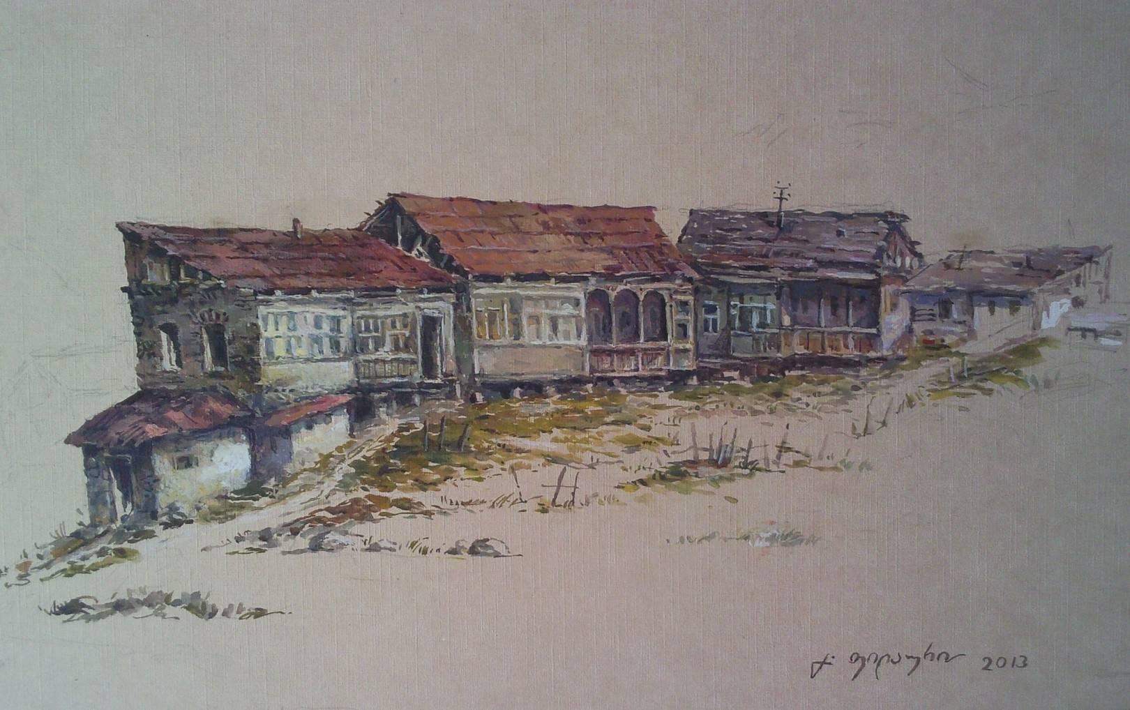 «Дома в Уплисцихе»           бумага, акварель, гуашь «Houses in the Uplistsikhe»  paper, aquarelle, gouache 14x20, 2013