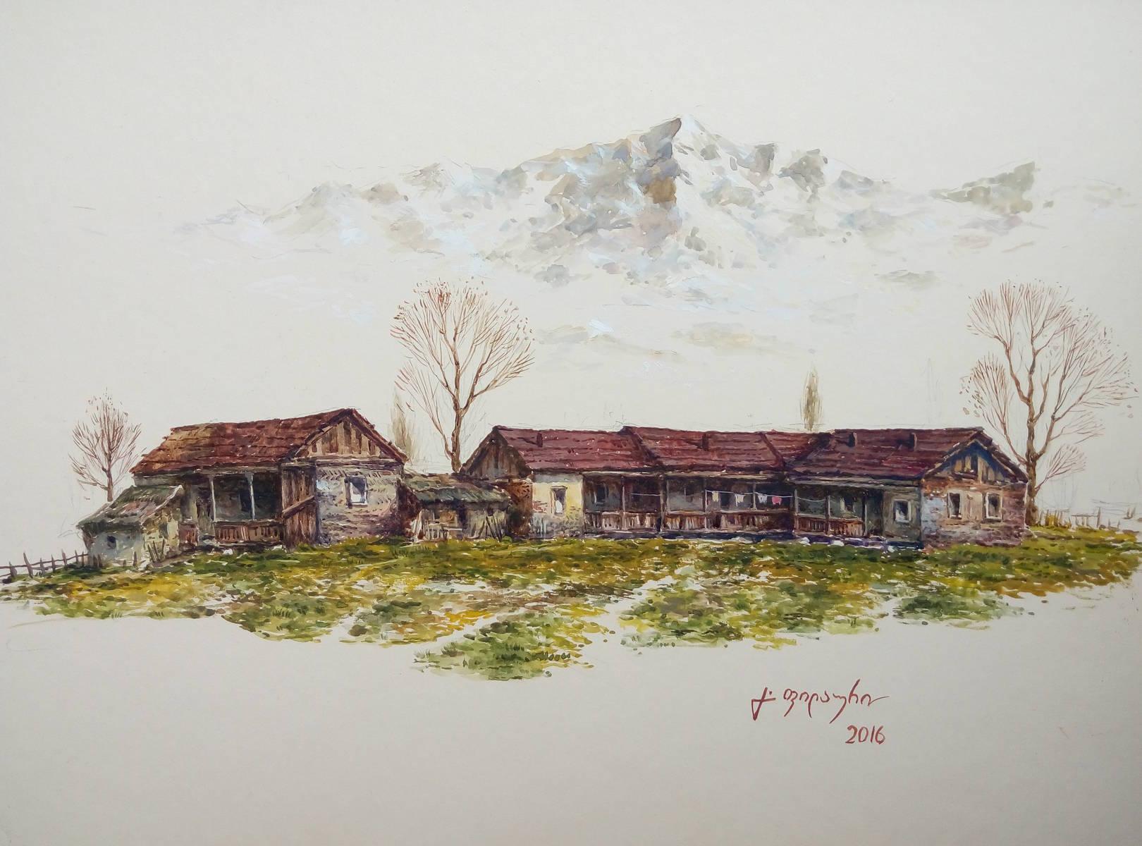 «Деревенька в горах»           бумага, акварель, гуашь «The village in mountains»     paper, aquarelle, gouache 26x40, 2016