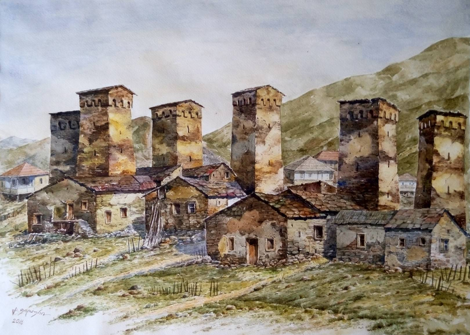 «Сванети»         бумага, акварель «Svaneti»           paper, aquarelle  50x70, 2016