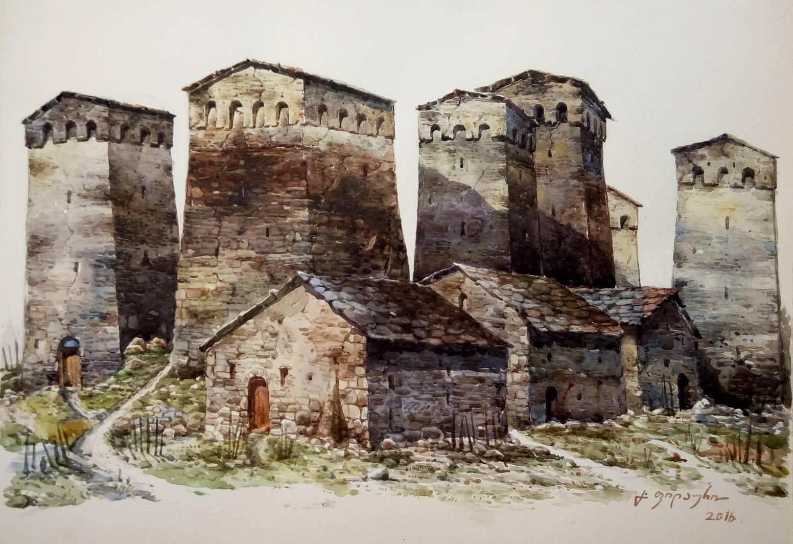«Сванети»         бумага, акварель «Svaneti»           paper, aquarelle  32x44, 2016