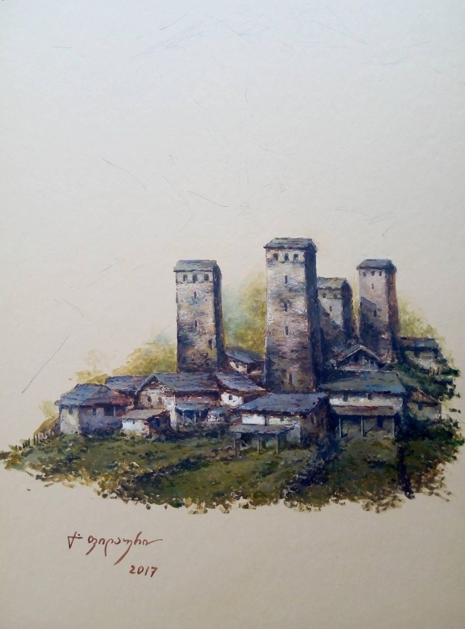 «Сванети»       бумага, акварель, гуашь «Svaneti»         paper, aquarelle, gouache 36x26, 2017