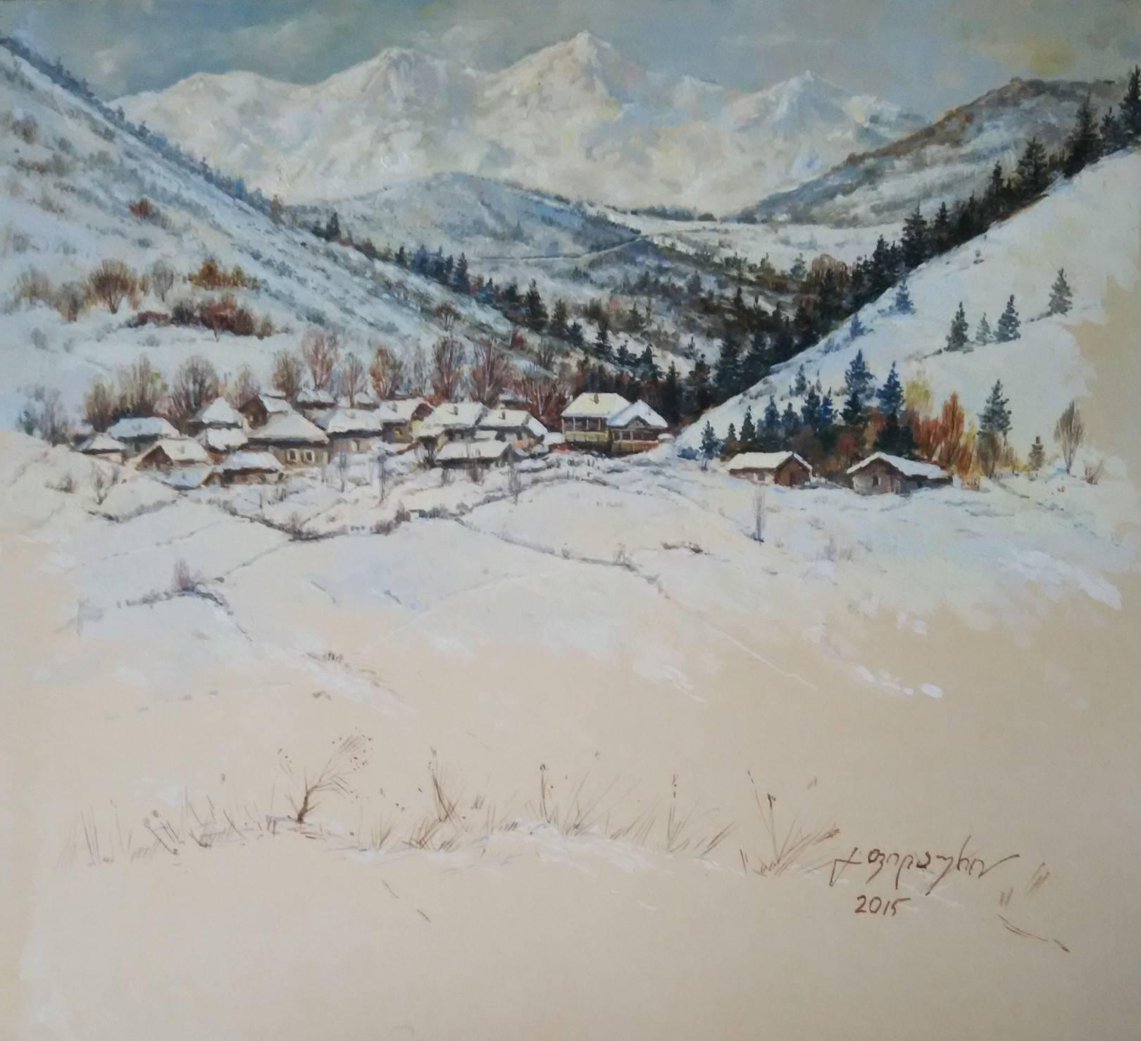 «Лиахвское ущелье»       бумага, акварель, гуашь «Liakhvian canyon»          paper, aquarelle, gouache 26x30, 2015