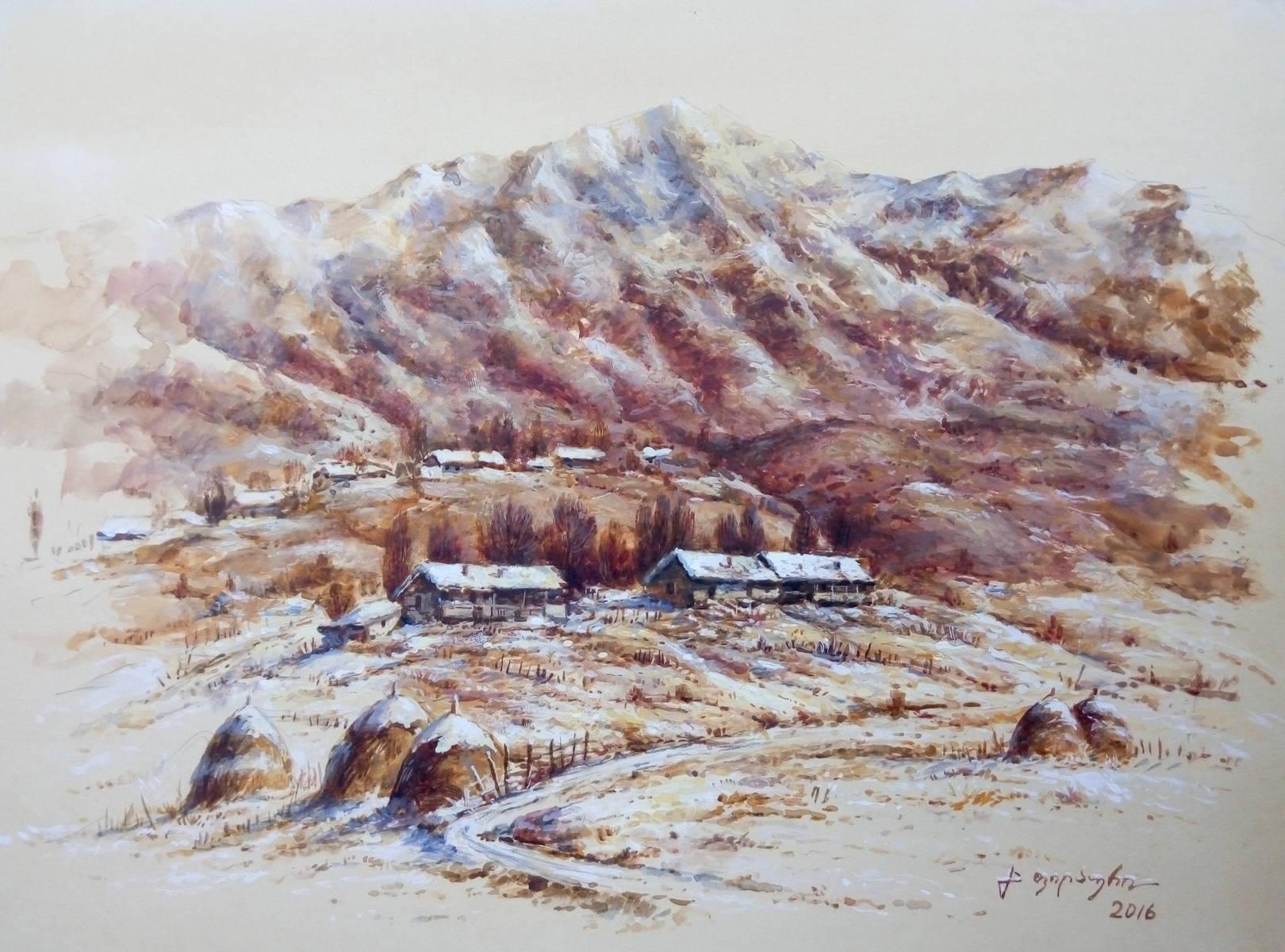 «Деревенька в горах»        бумага, акварель, гуашь «The village in mountains»  paper, aquarelle, gouache 30x41, 2016