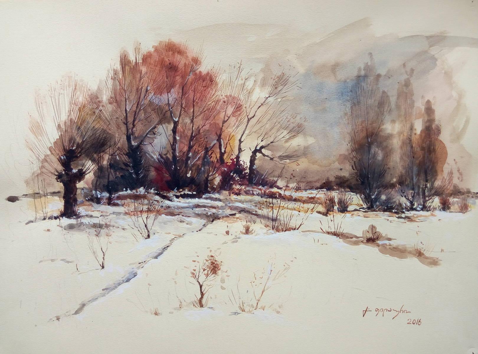 «Зимний пейзаж»      бумага, акварель, гуашь «Winter landscape»    paper, aquarelle, gouache 30x40, 2016