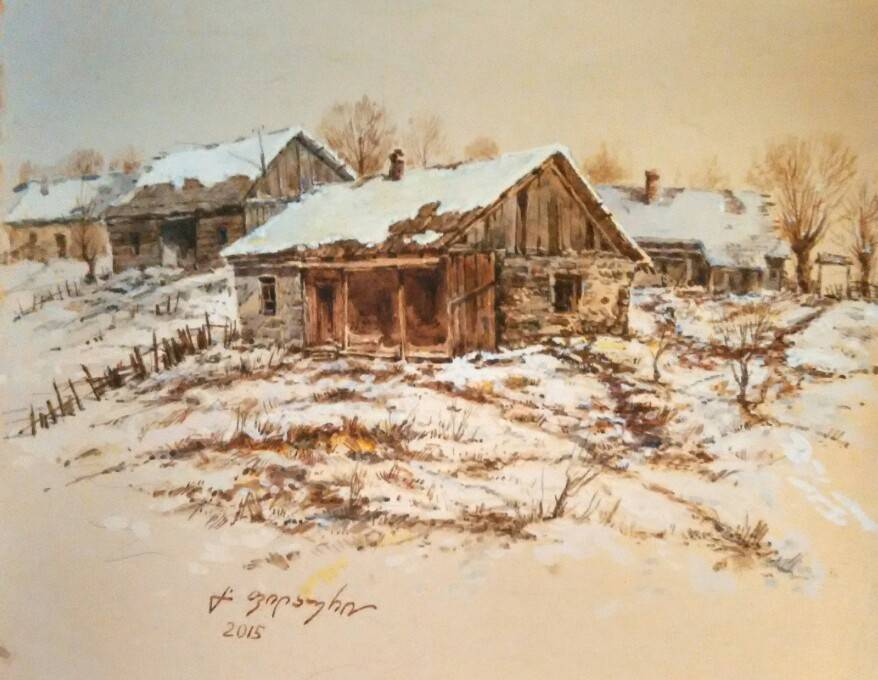 «Деревенька зимой»          бумага, акварель, гуашь «The village in the winter»   paper, aquarelle, gouache 24x30, 2015