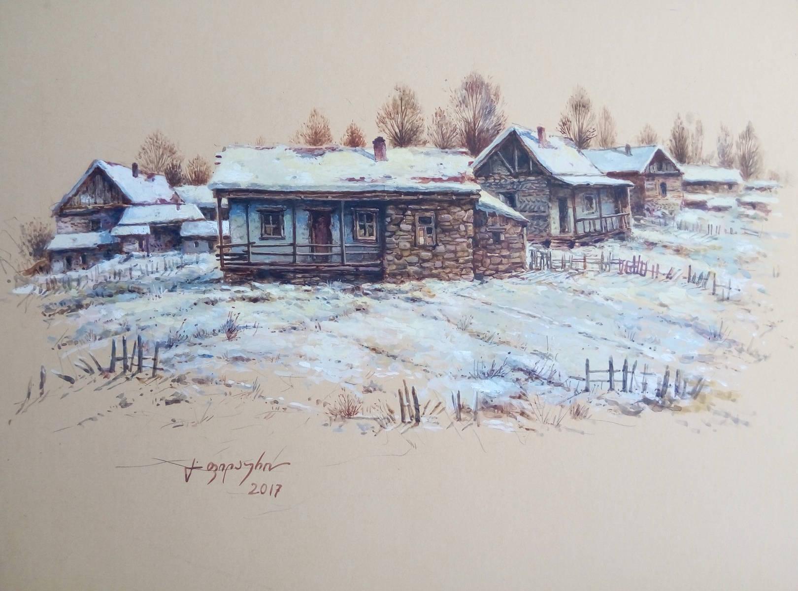 «Деревенька зимой»          бумага, акварель, гуашь «The village in the winter»   paper, aquarelle, gouache 28x40, 2017