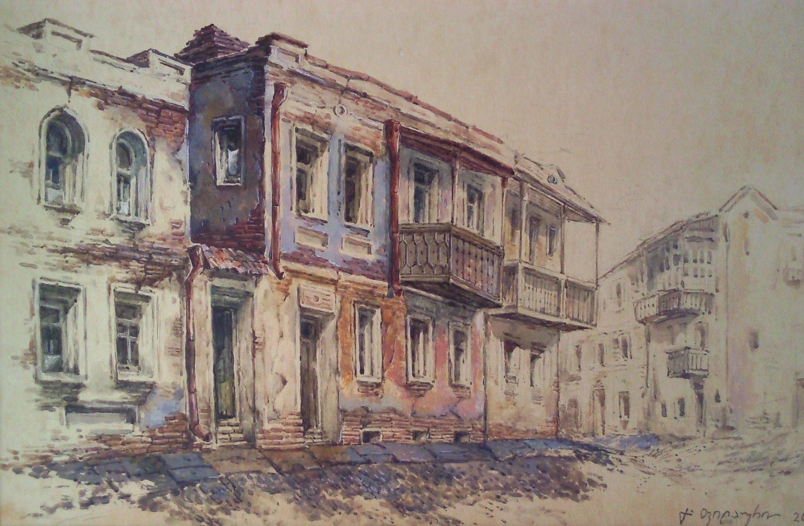 «На улице Плеханова»        бумага, акварель, гуашь «On the Plekhanov street»    paper, aquarelle, gouache 20x30, 2013