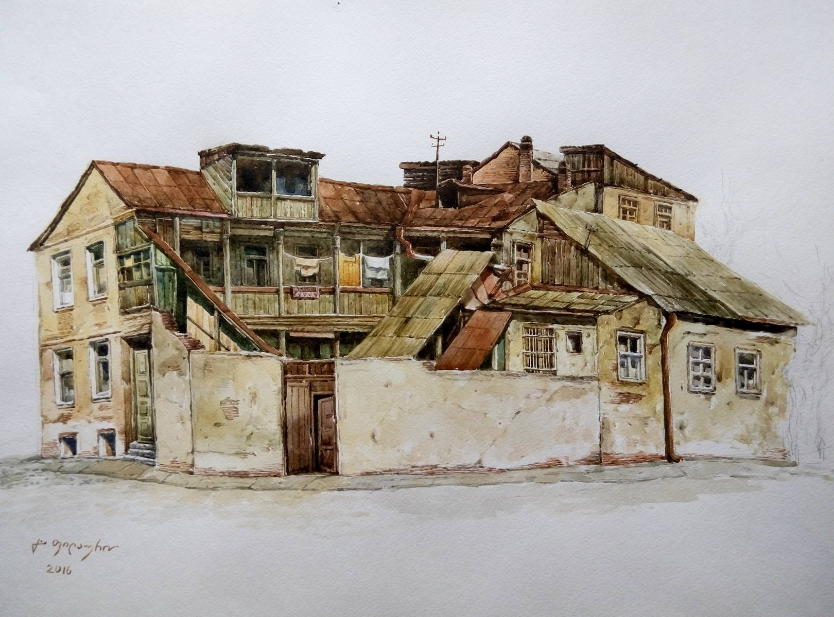«Старый дом в Тбилиси»   бумага, акварель «Old house in Tbilisi»           paper, aquarelle           39x56, 2016