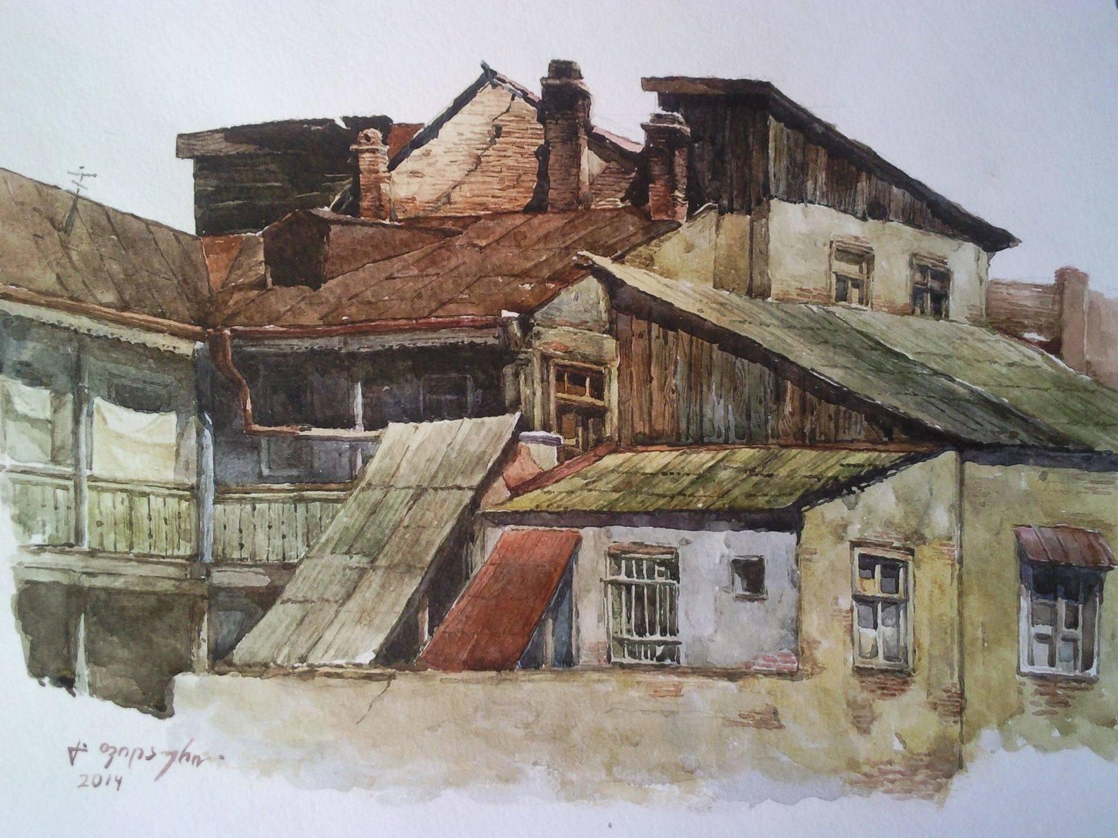 «Старые дома на Серебряной улице» бумага, акварель «Old houses on Silver street»  paper, aquarelle           25x35, 2014