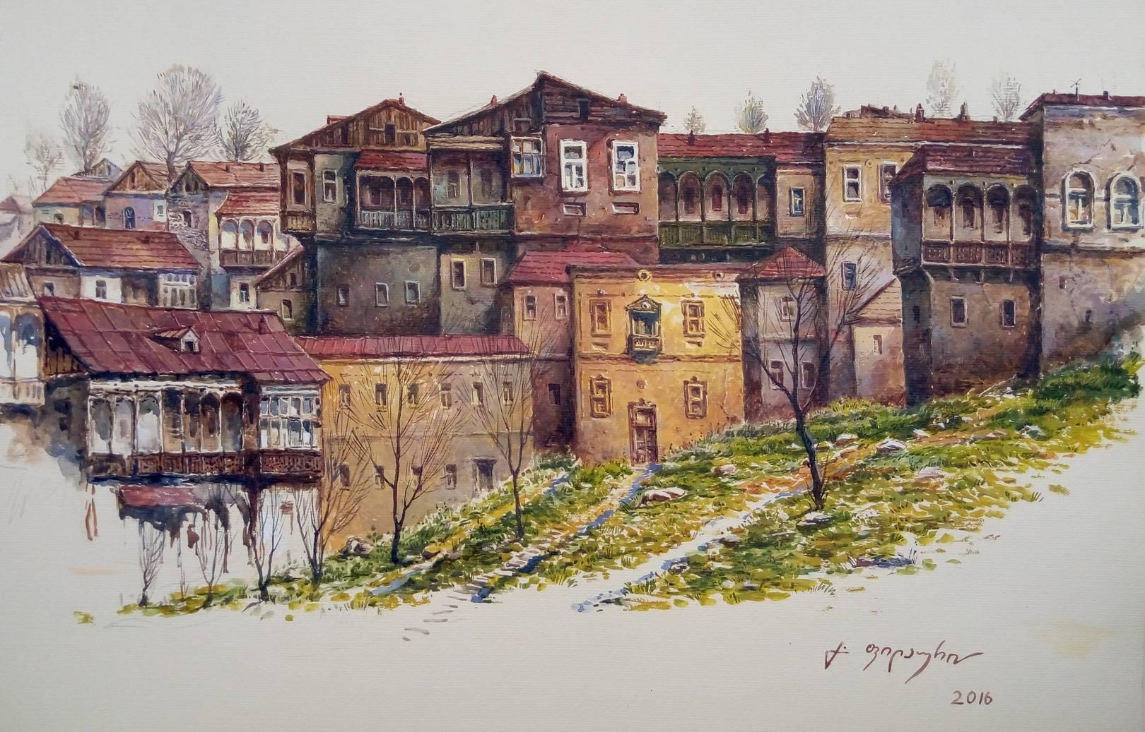 «Старый Тбилиси»     бумага, акварель, гуашь «Old Tbilisi»                 paper, aquarelle, gouache 35x50, 2016