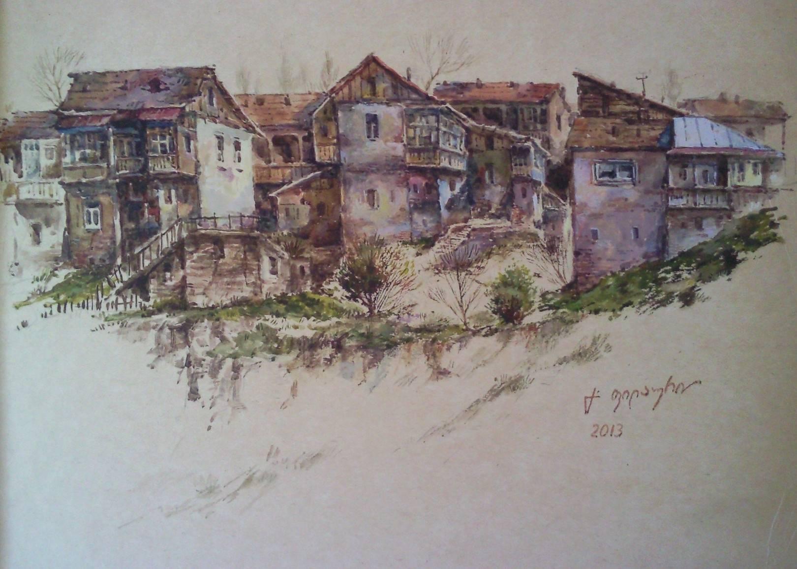 «Старые дома около Метехи» бумага, акварель, гуашь «Old houses near Metekhi»     paper, aquarelle, gouache 18x25, 2013