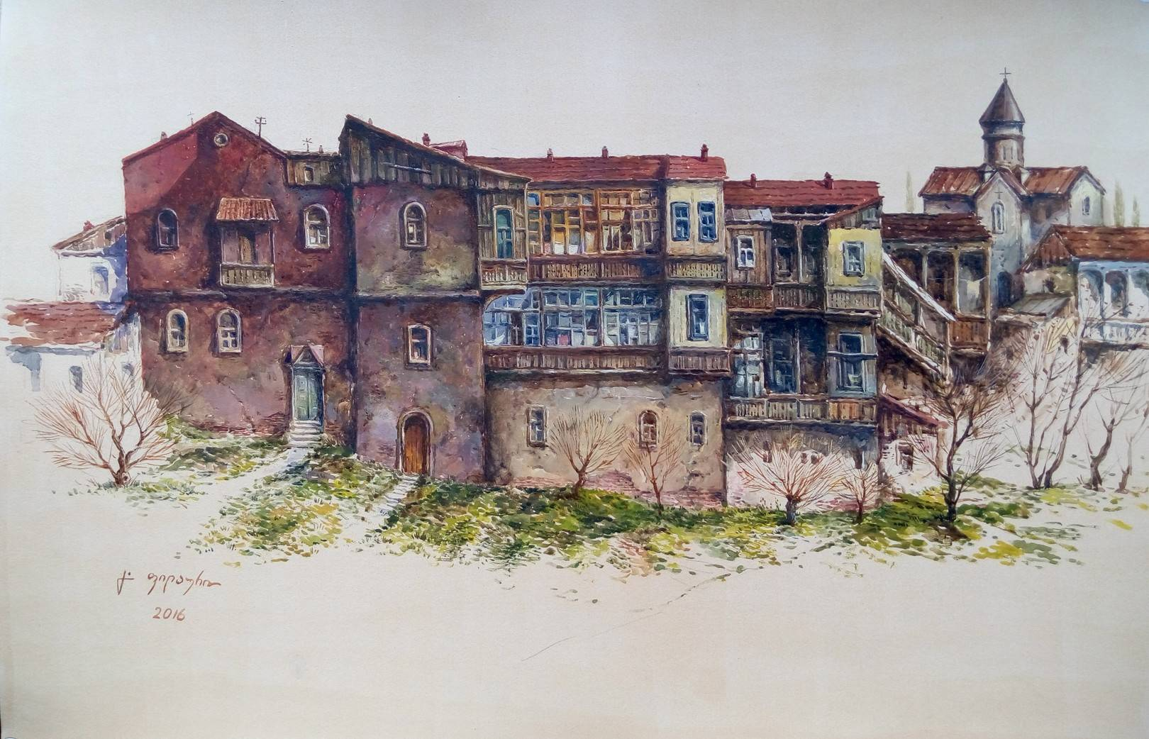 «Старые дома около Метехи» бумага, акварель, гуашь «Old houses near Metekhi»  paper, aquarelle, gouache 34x49, 2016