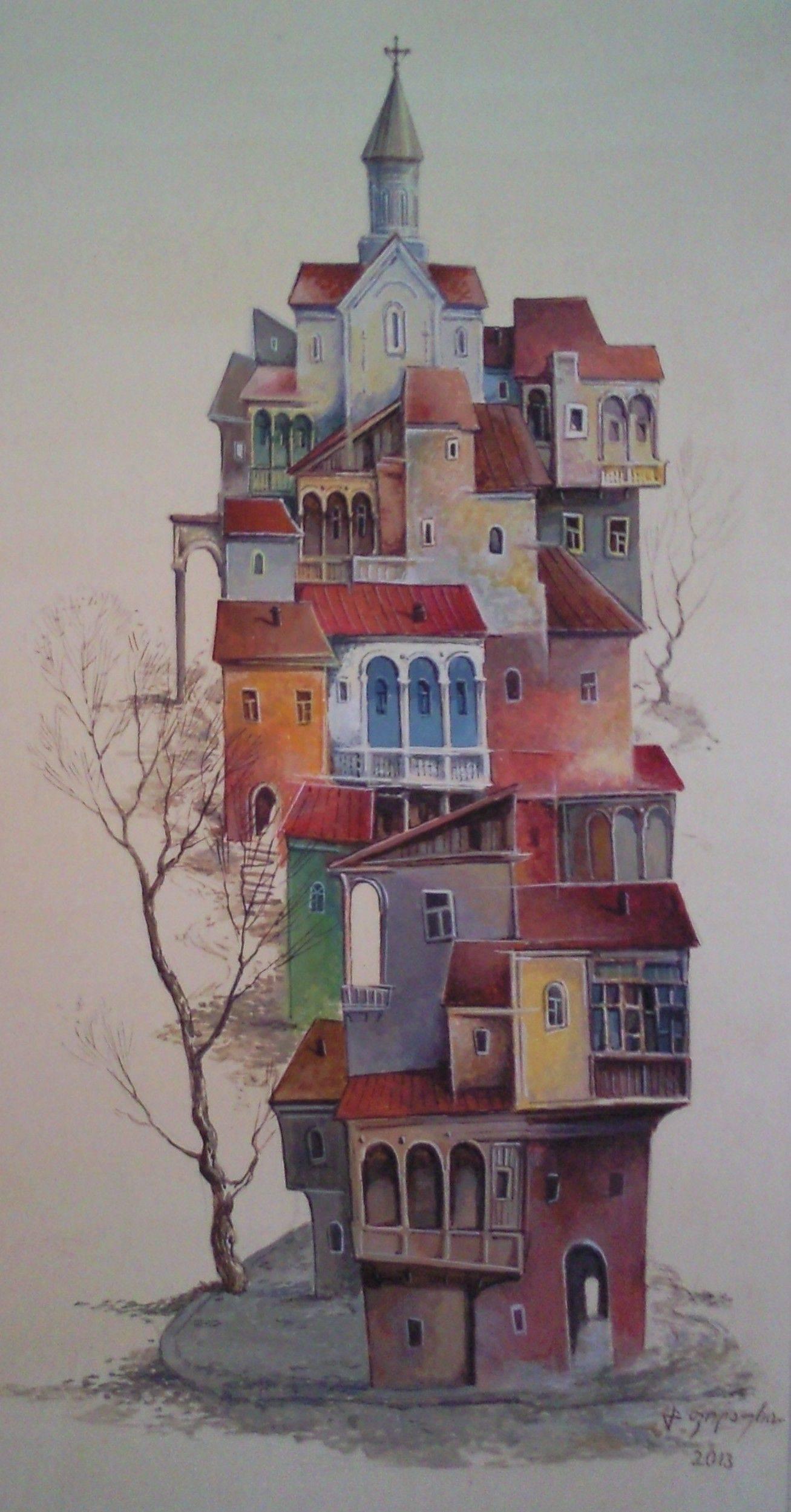 «Тбилисская вариация»  бумага, акварель, гуашь «Tbilisian variation»          paper, aquarelle, gouache 40x23, 2013