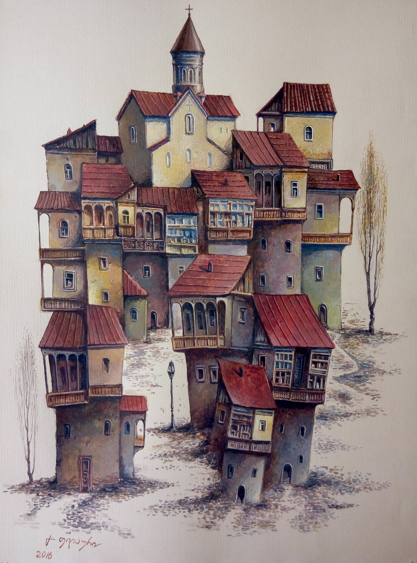«Тбилисская вариация»  бумага, акварель, гуашь «Tbilisian variation»          paper, aquarelle, gouache 50x35, 2016