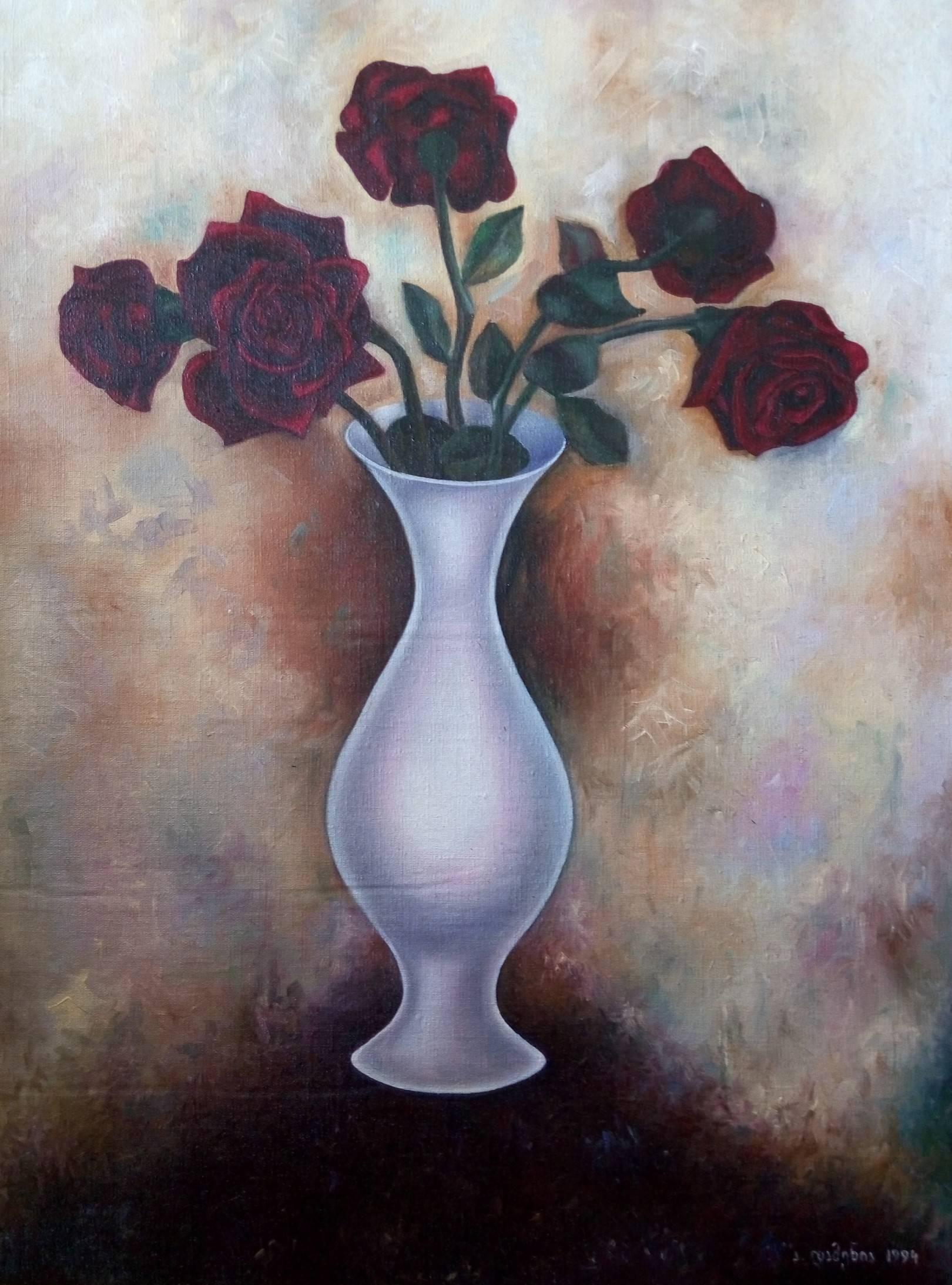 «Бархатные розы»    холст, масло «Velvet roses»            oil on canvas                                                100x80,  1994