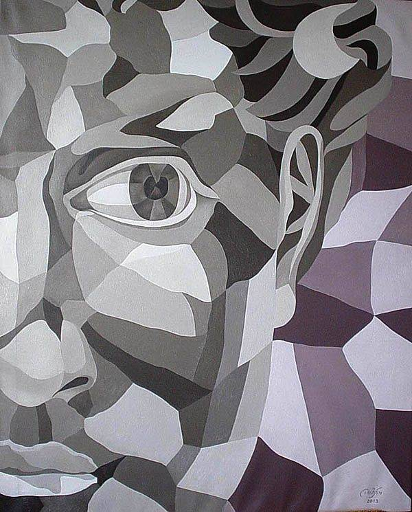 "«Интерпретация портрета  «Давида» Микеланджело»                             холст, масло                                          «The interpretation of the portrait  ""David"" by Michelangelo»     oil on canvas                                                100x80,  2003"
