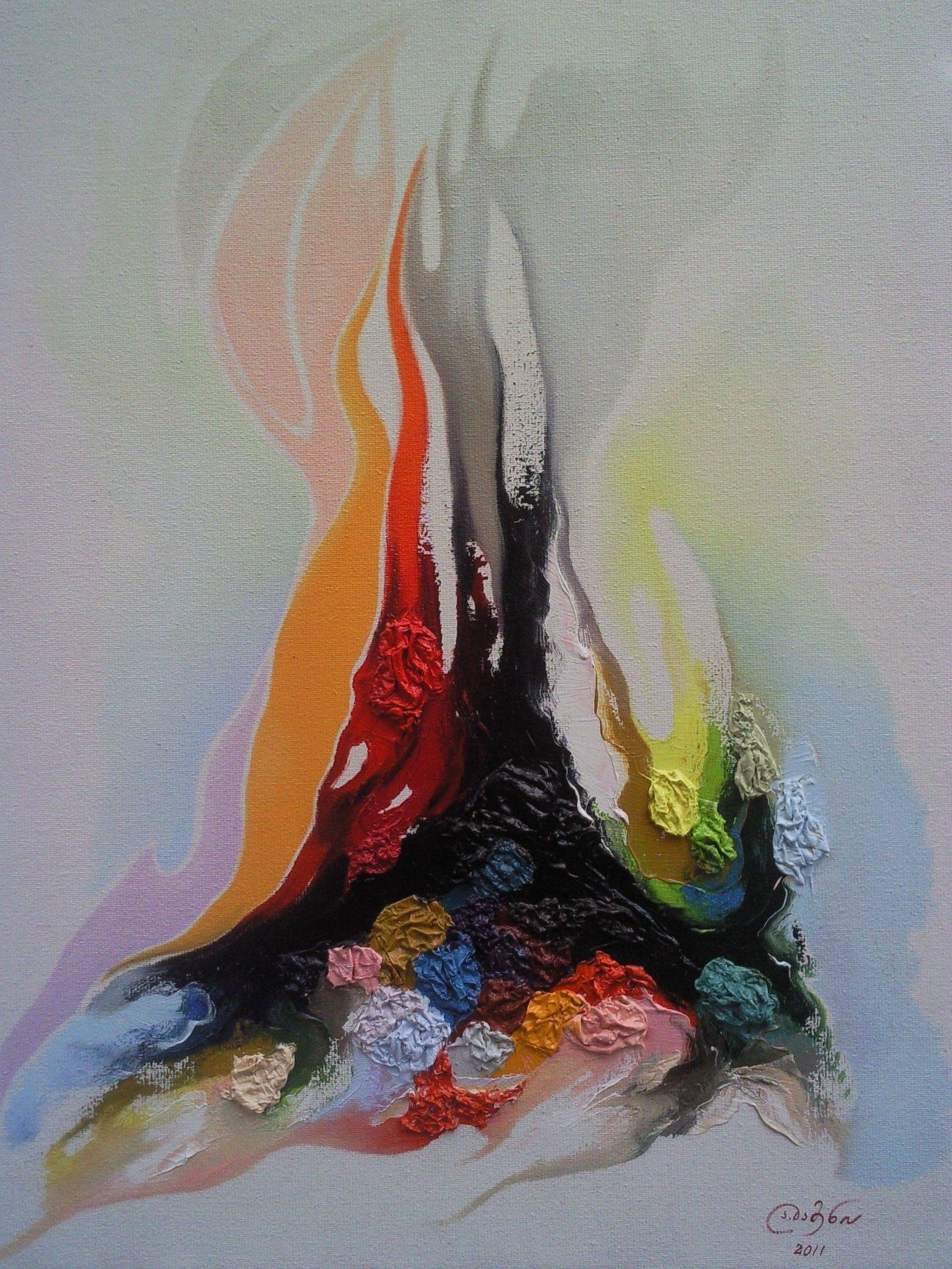 «Воспоминания у костра»          холст, масло «Memoirs at a fire»                       oil on canvas                                            90x70,  2012