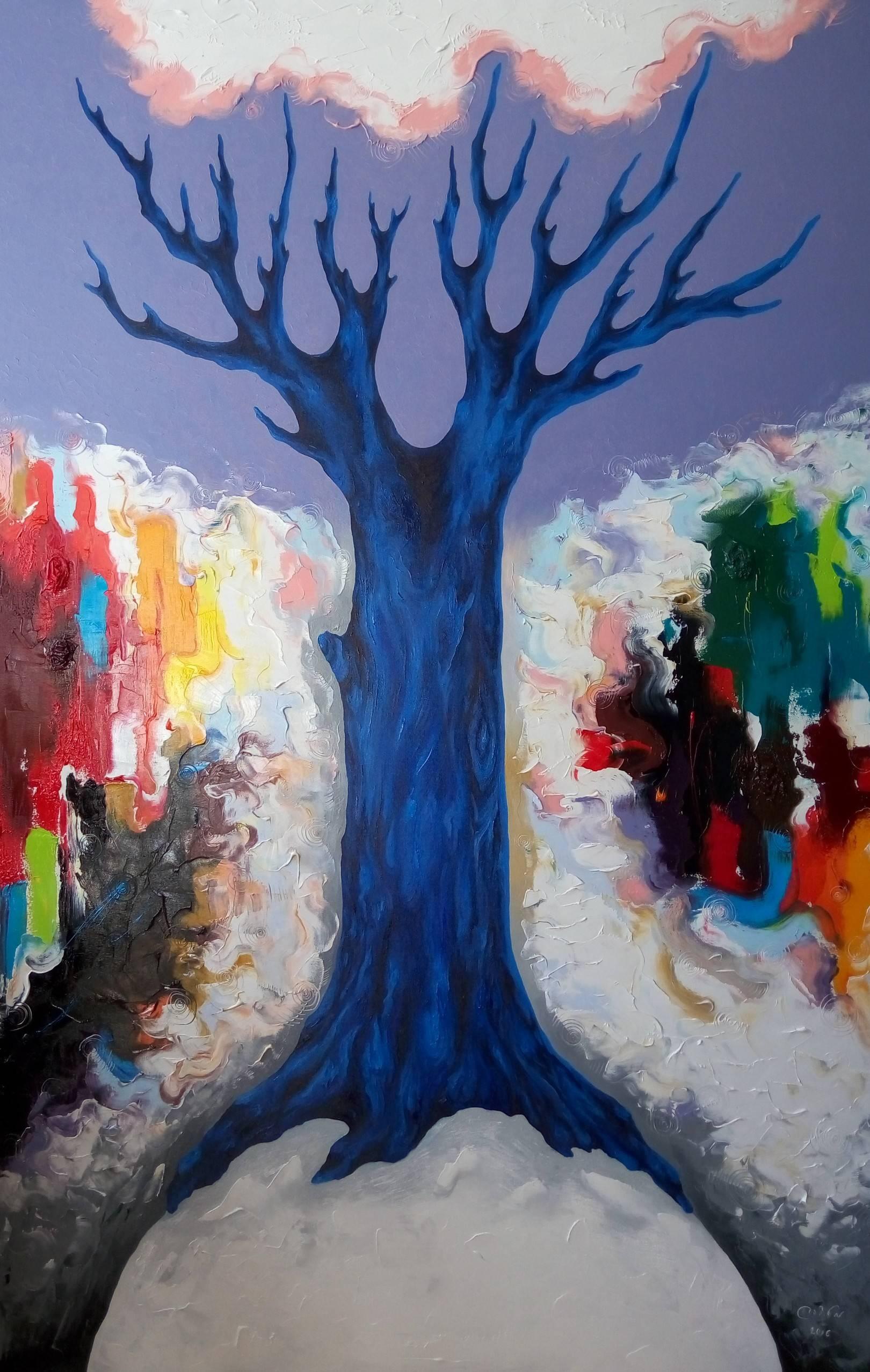«Лунное дерево»     холст, масло «Lunar tree»             oil on canvas                                                 180x115,  2016