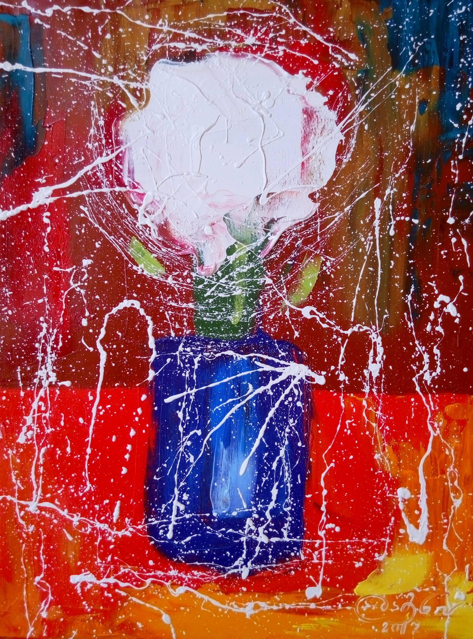 «Цветы в синей вазе»     холст, масло «Flowers in a blue vase»  oil on canvas  40x30, 2017