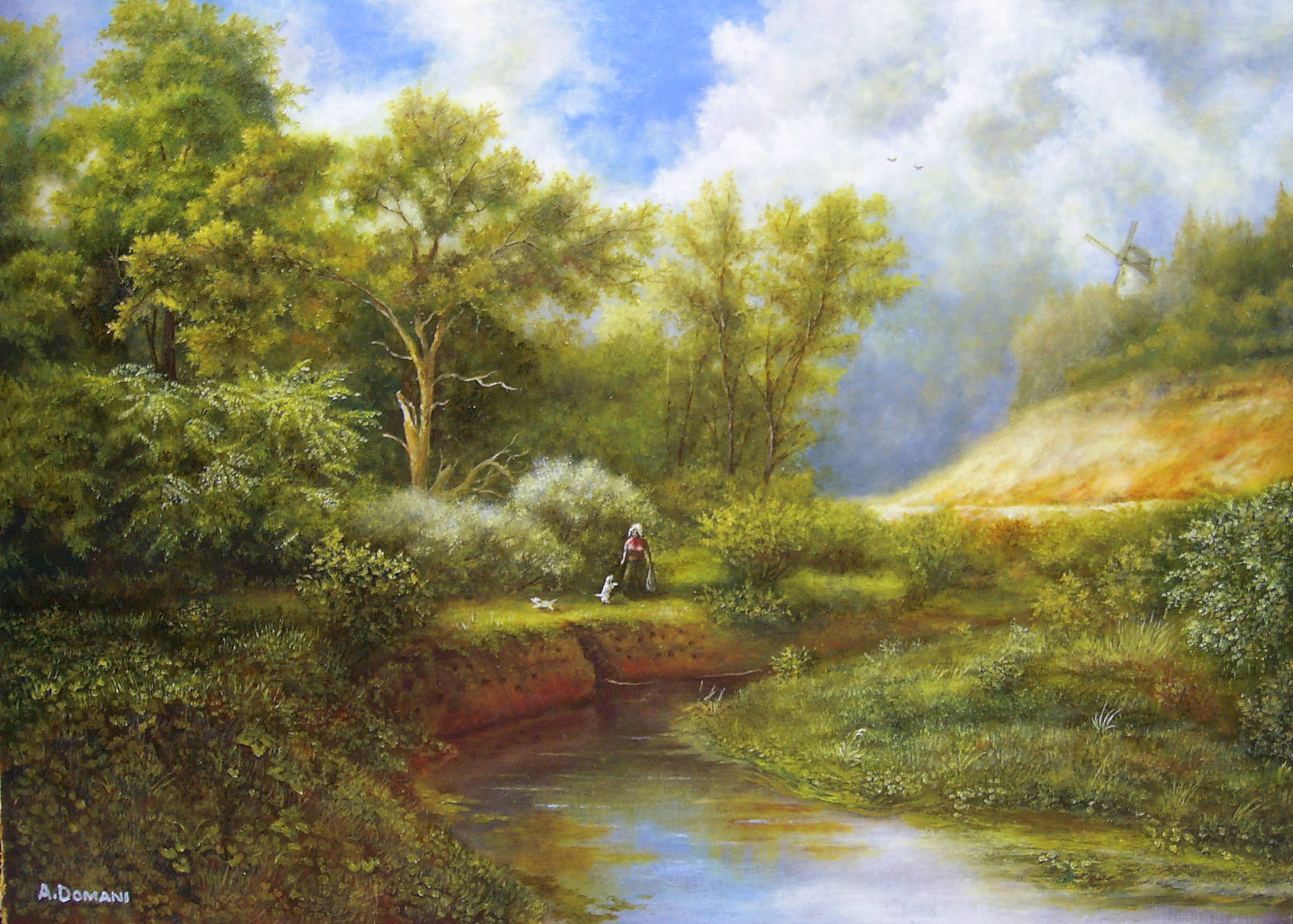 Пейзаж с собачками ( холст, масло 58 х 42 )